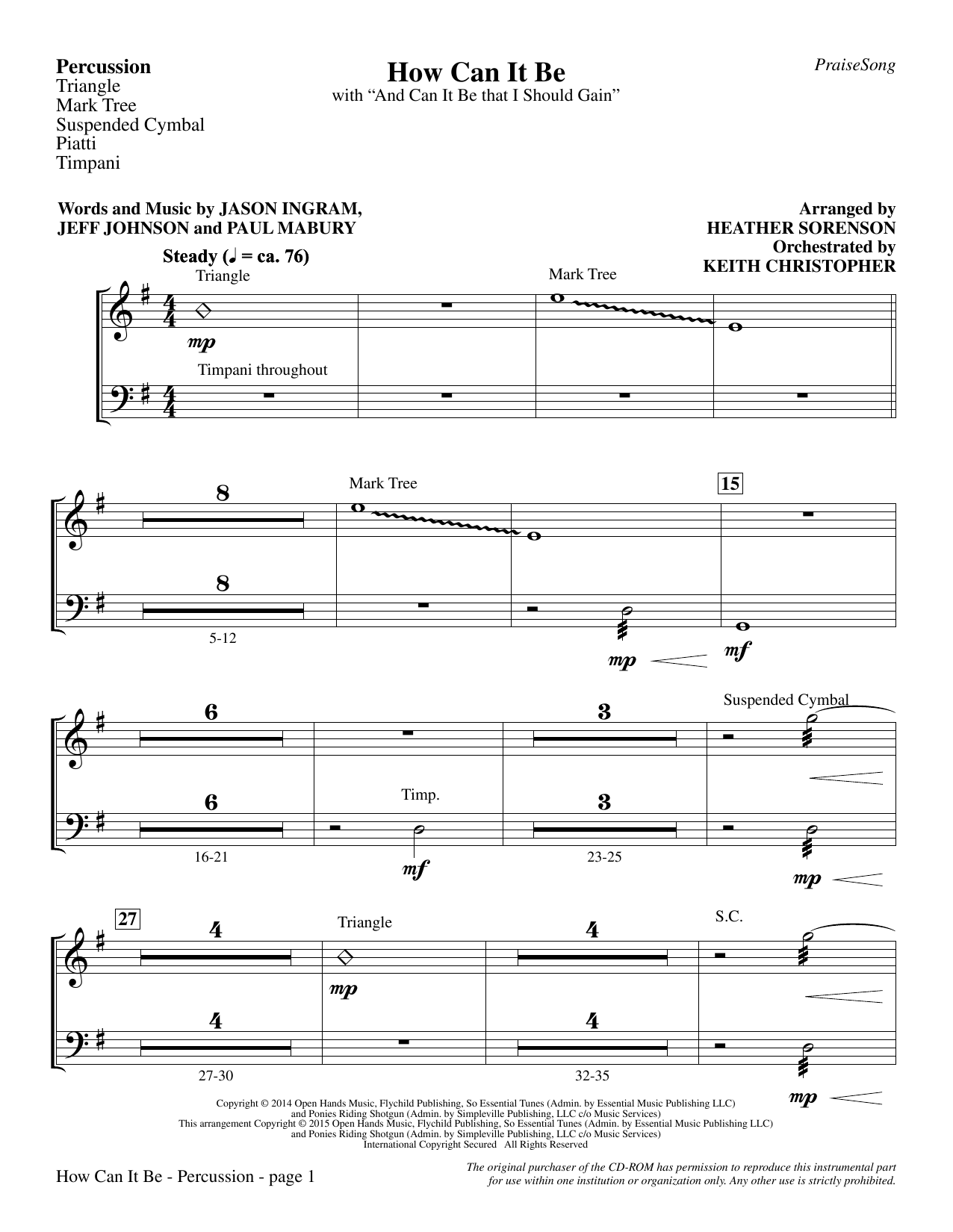 How Can It Be - Percussion (Choir Instrumental Pak)