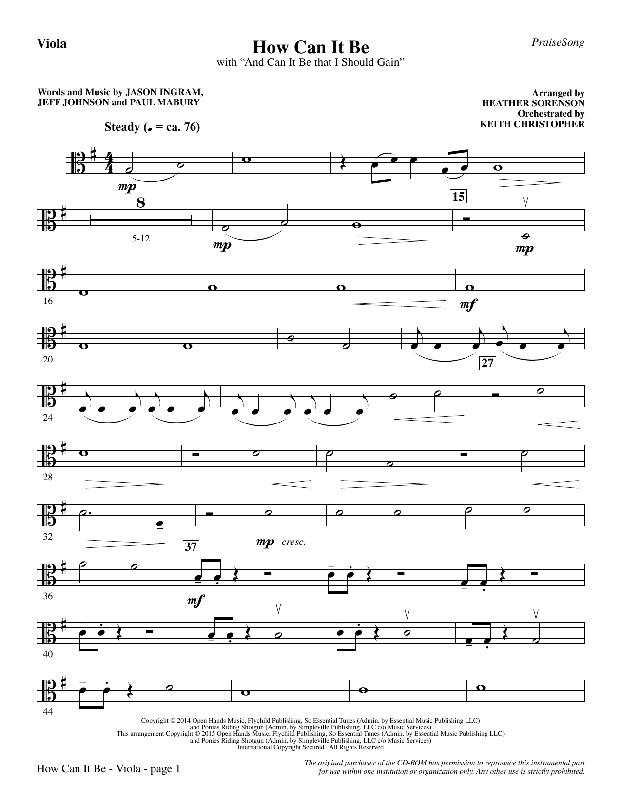How Can It Be - Viola Sheet Music