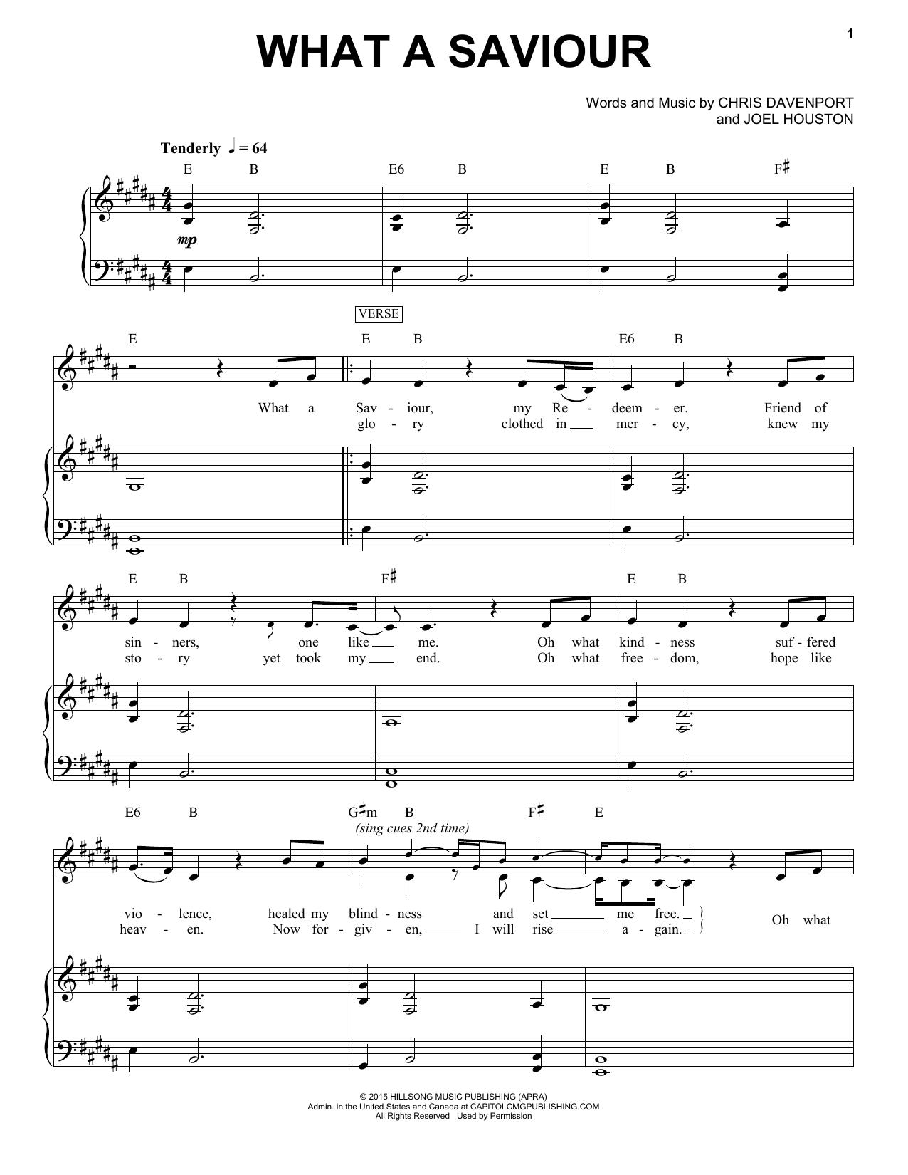 What A Saviour piano sheet music by Hillsong Worship - Piano Voice