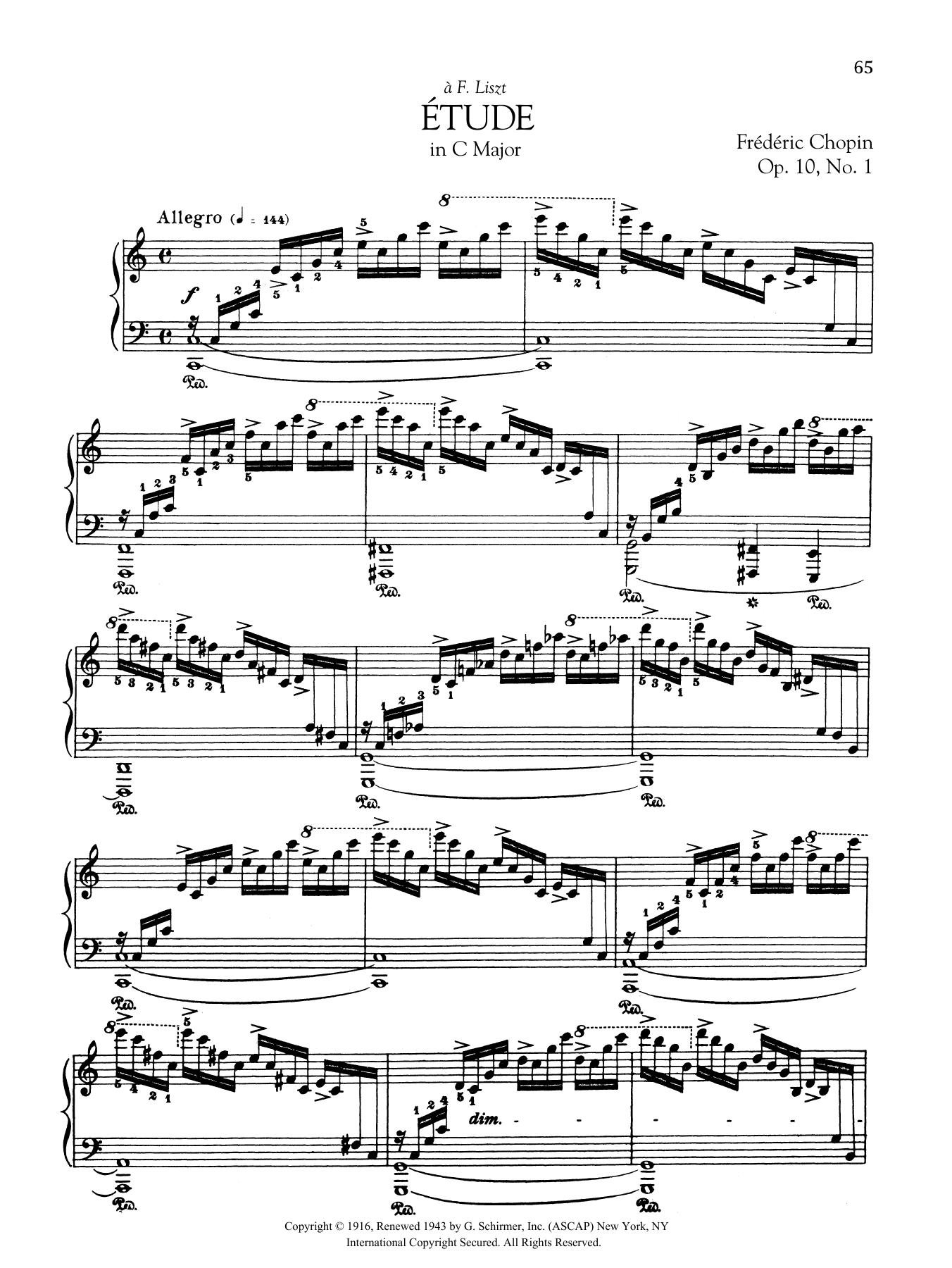 Etude in C Major, Op. 10, No. 1 Sheet Music