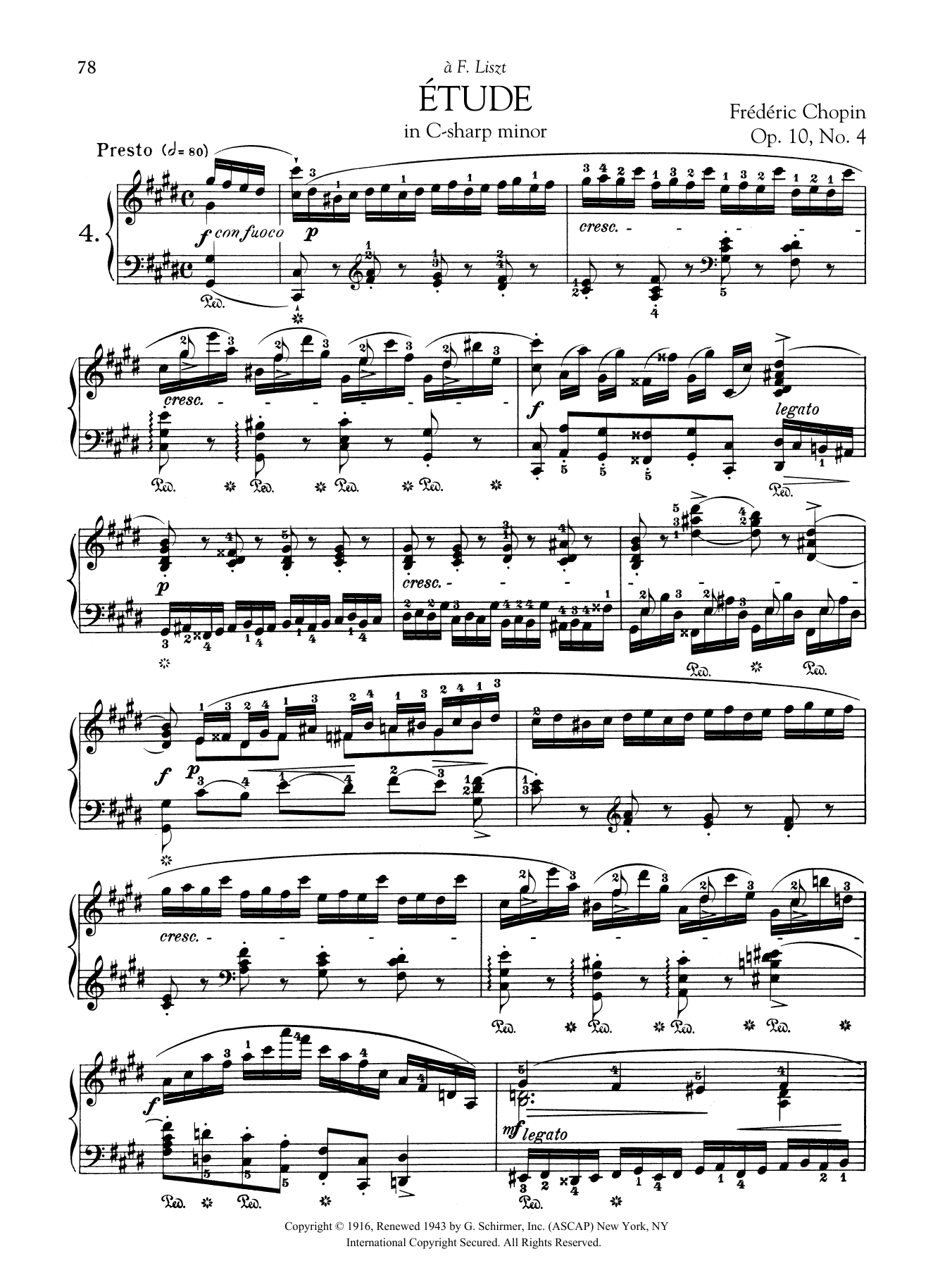Etude in C-sharp minor, Op. 10, No. 4 Sheet Music