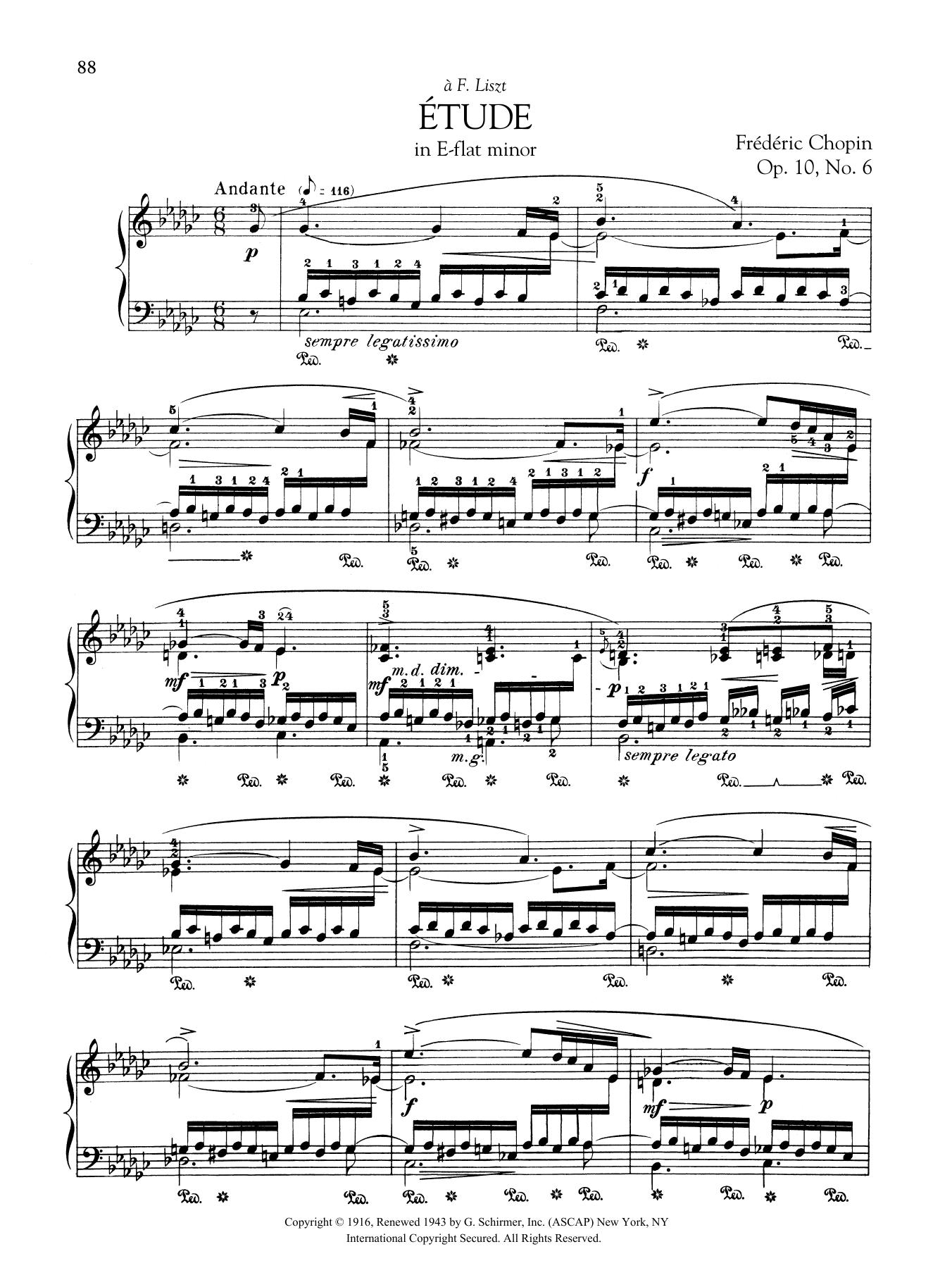 Etude in E-flat minor, Op  10, No  6 by Frederic Chopin Piano Solo Digital  Sheet Music
