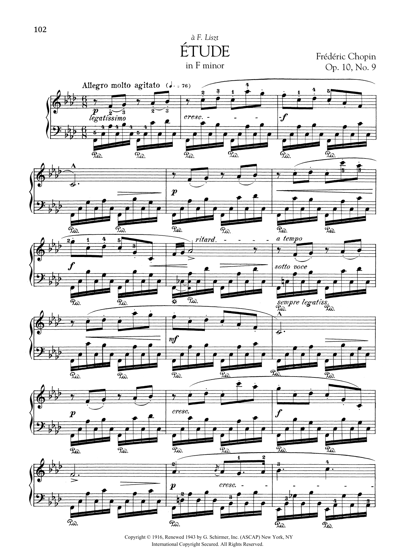 Etude in F minor, Op. 10, No. 9 Sheet Music