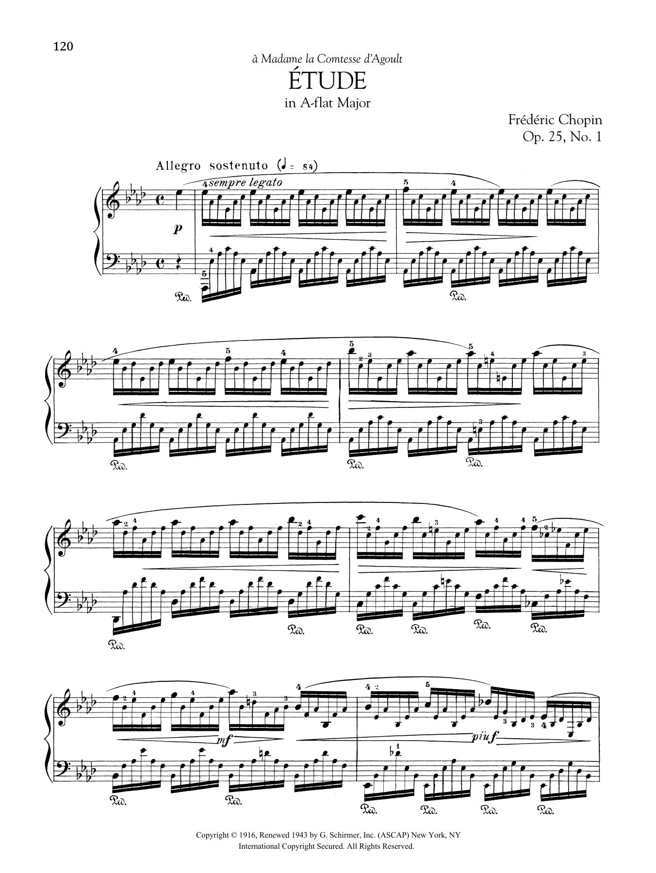 Etude in A-flat Major, Op. 25, No. 1 Sheet Music