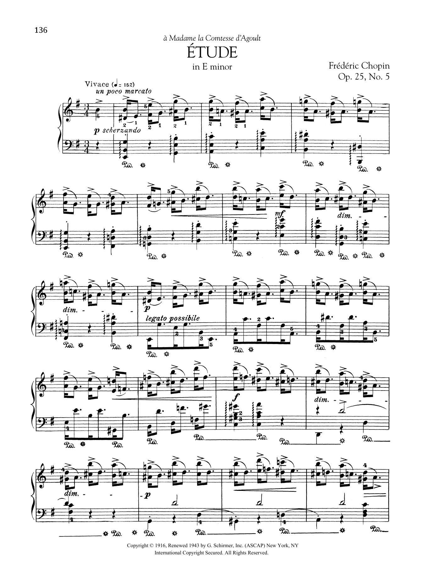 Etude in E minor, Op. 25, No. 5 Sheet Music