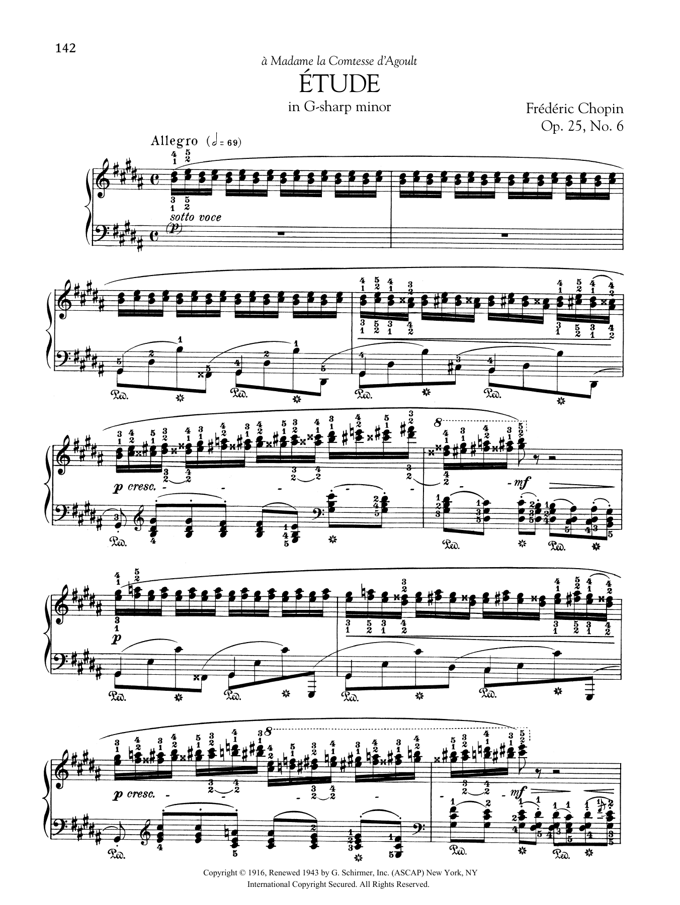 Etude in G-sharp minor, Op  25, No  6 by Frederic Chopin Piano Solo Digital  Sheet Music