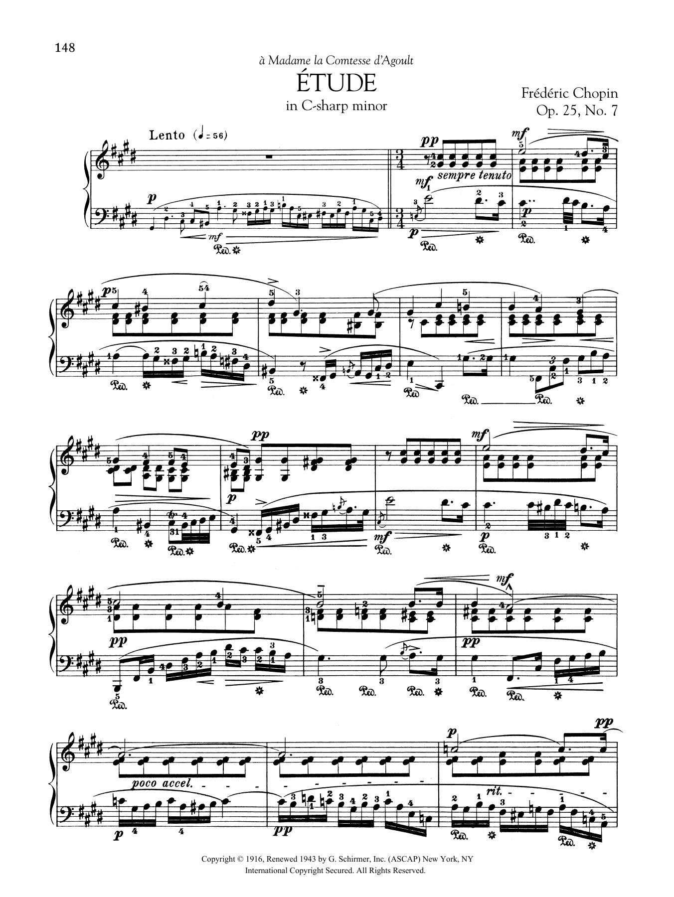 Etude in C-sharp minor, Op. 25, No. 7 Sheet Music