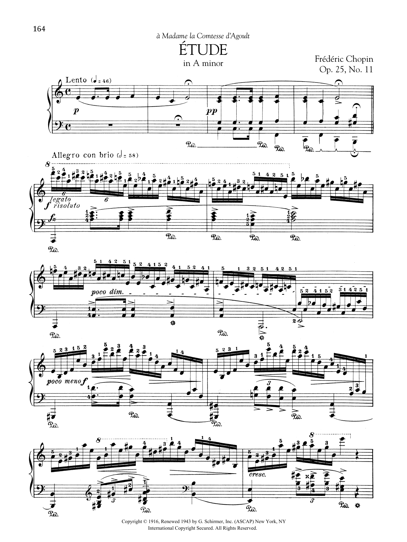 Etude in A minor, Op. 25, No. 11 Sheet Music
