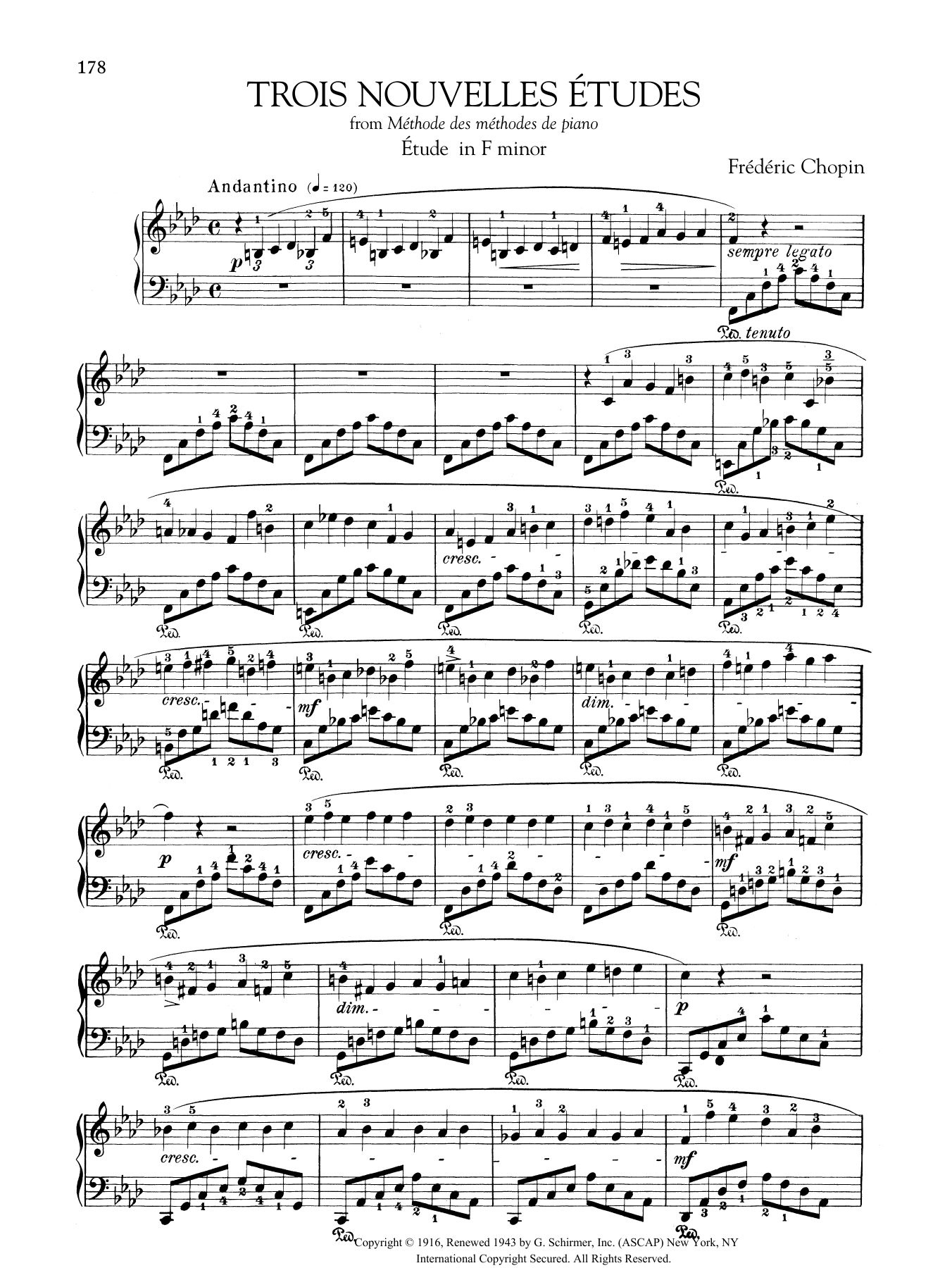 Etude in F minor, from Trois Nouvelles Etudes from Methode des methodes de piano Sheet Music