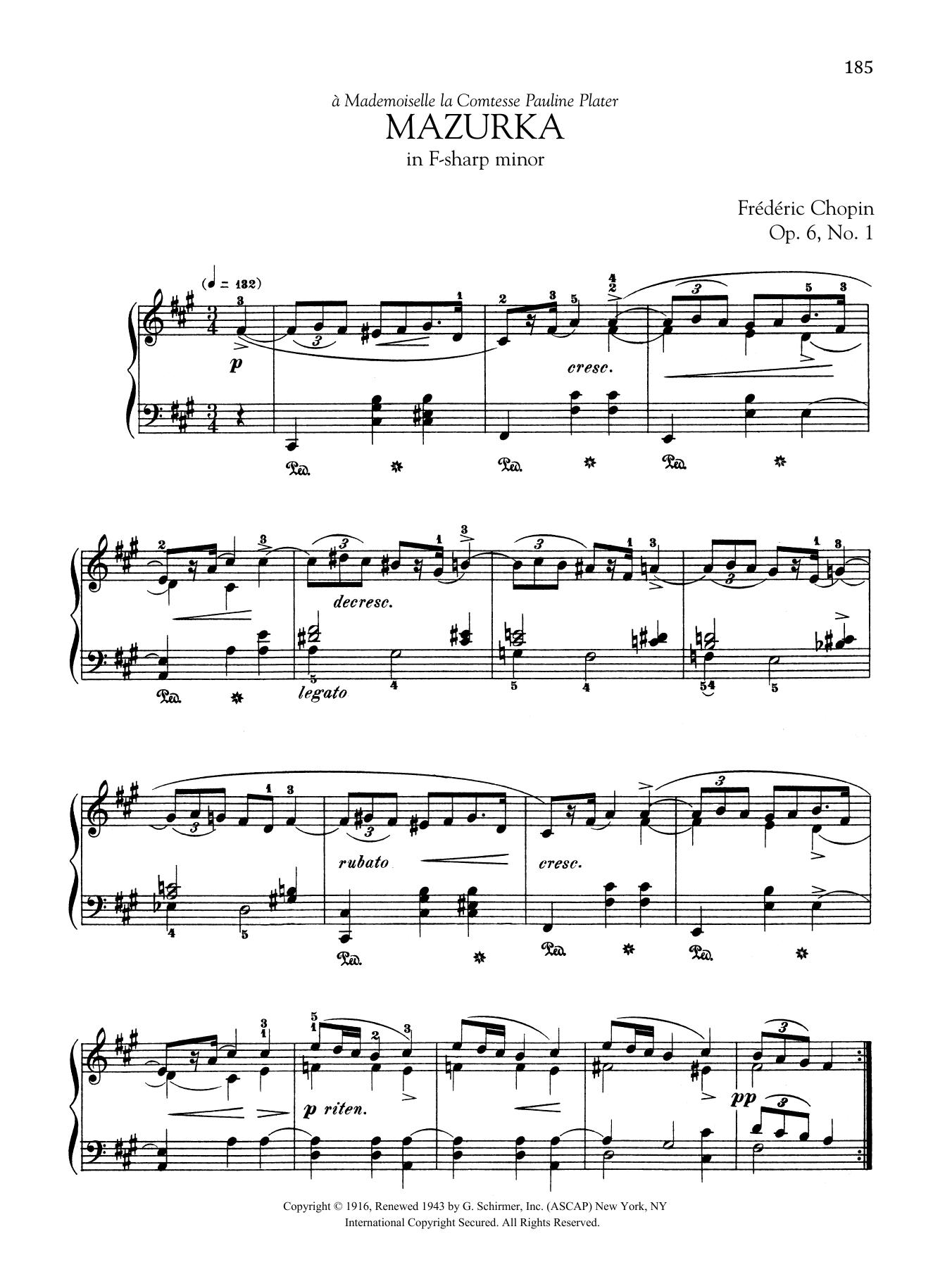 Mazurka In F Sharp Minor Op 6 No 1 Frederic Chopin Piano Solo