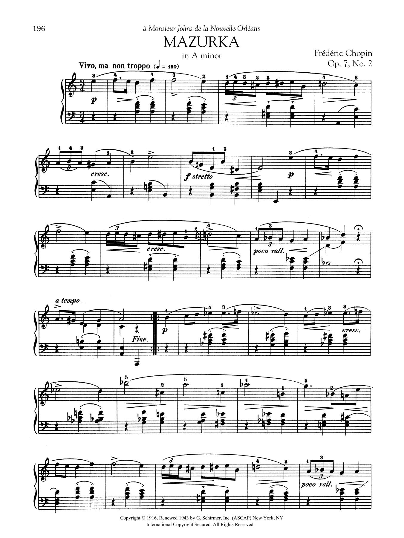 Mazurka in A minor, Op. 7, No. 2 Sheet Music