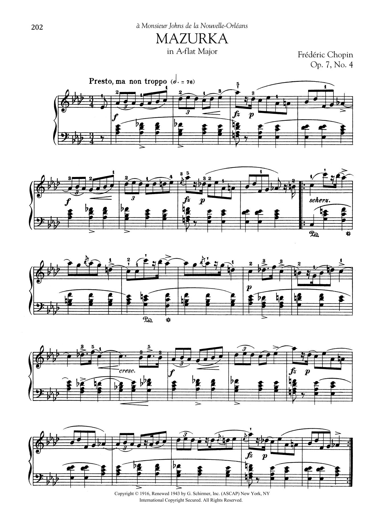 Mazurka in A-flat Major, Op. 7, No. 4 Sheet Music