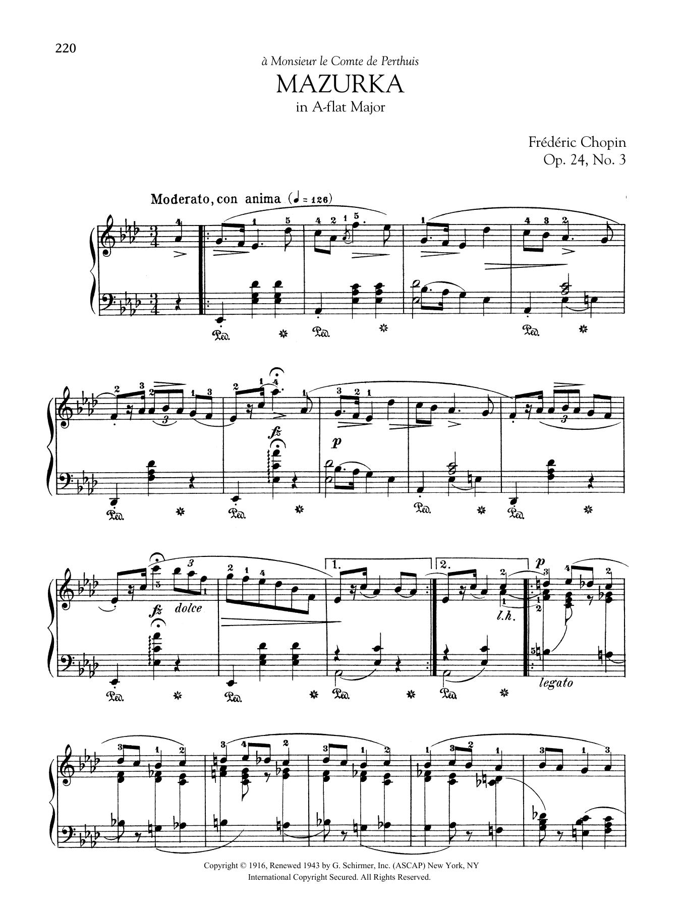 Mazurka in A-flat Major, Op. 24, No. 3 Sheet Music