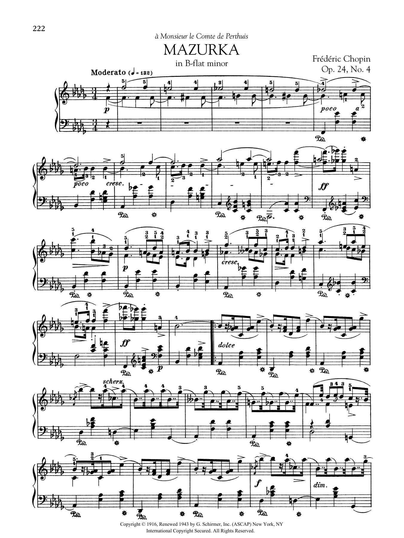 Mazurka in B-flat minor, Op. 24, No. 4 Sheet Music