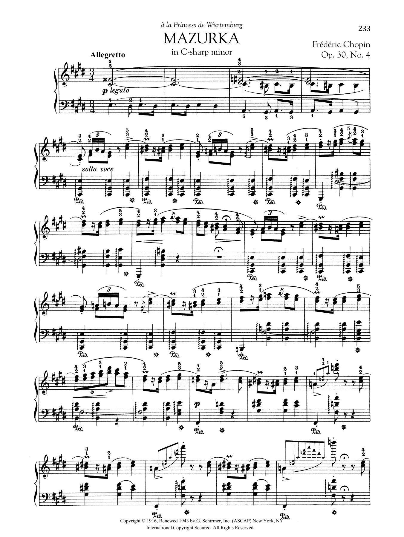 Mazurka in C-sharp minor, Op. 30, No. 4 Sheet Music