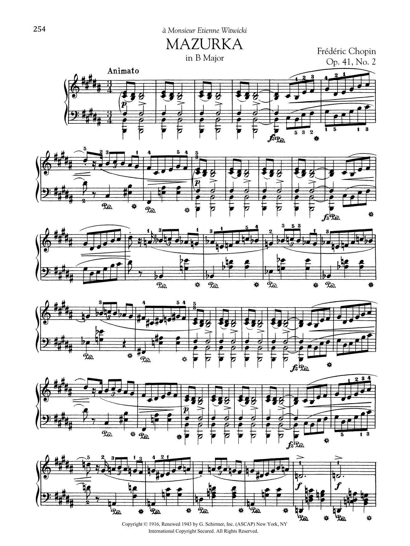 Mazurka in B Major, Op. 41, No. 2 Sheet Music