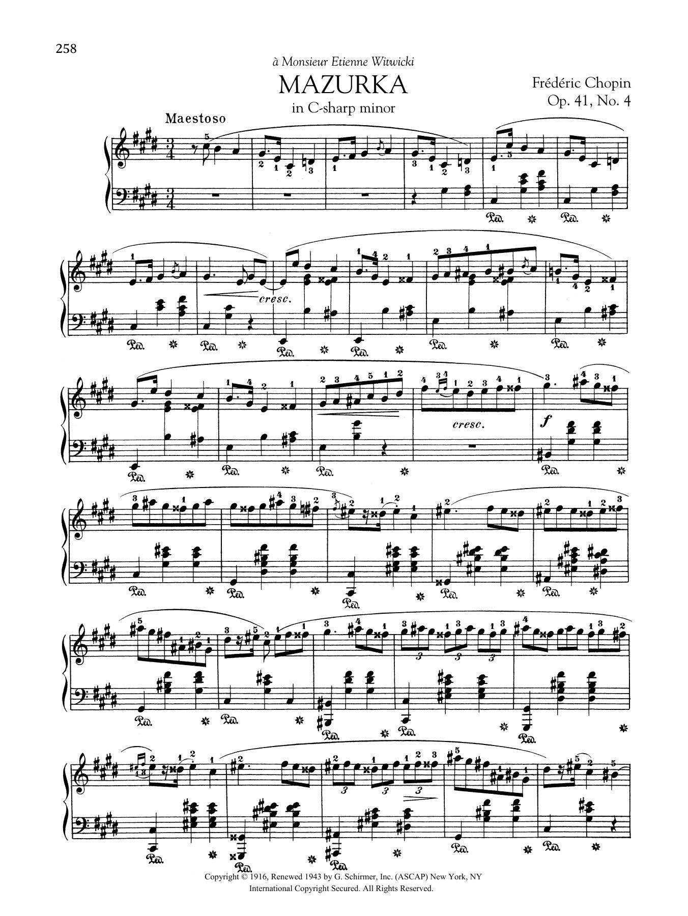 Mazurka in C-sharp minor, Op. 41, No. 4 Sheet Music