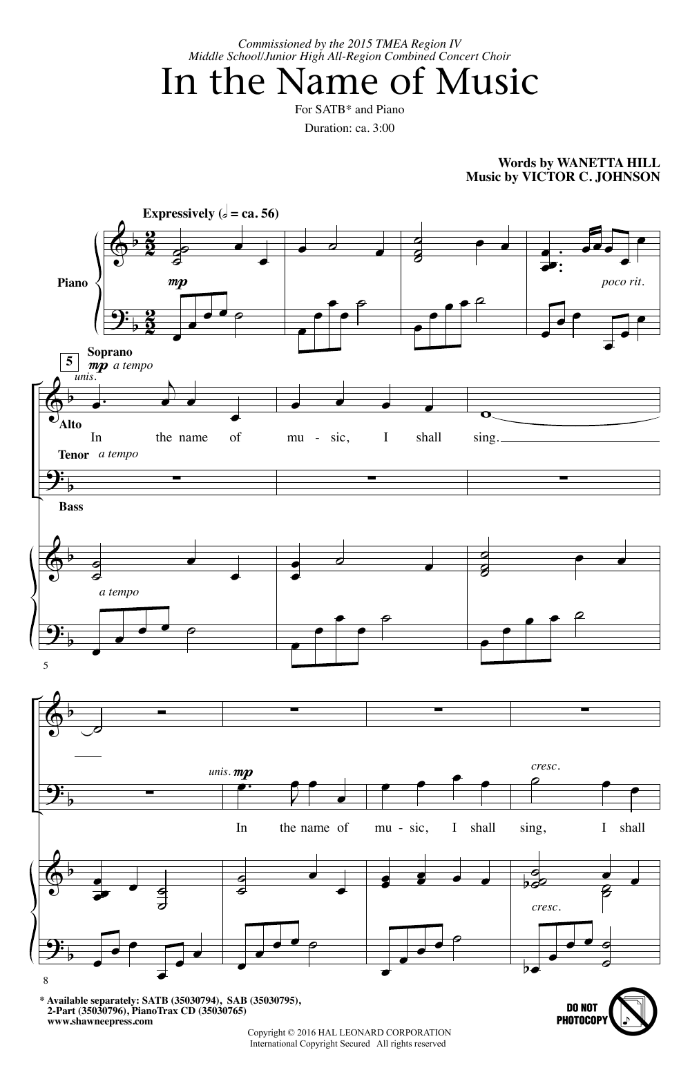 Partition chorale In The Name Of Music de  - SATB