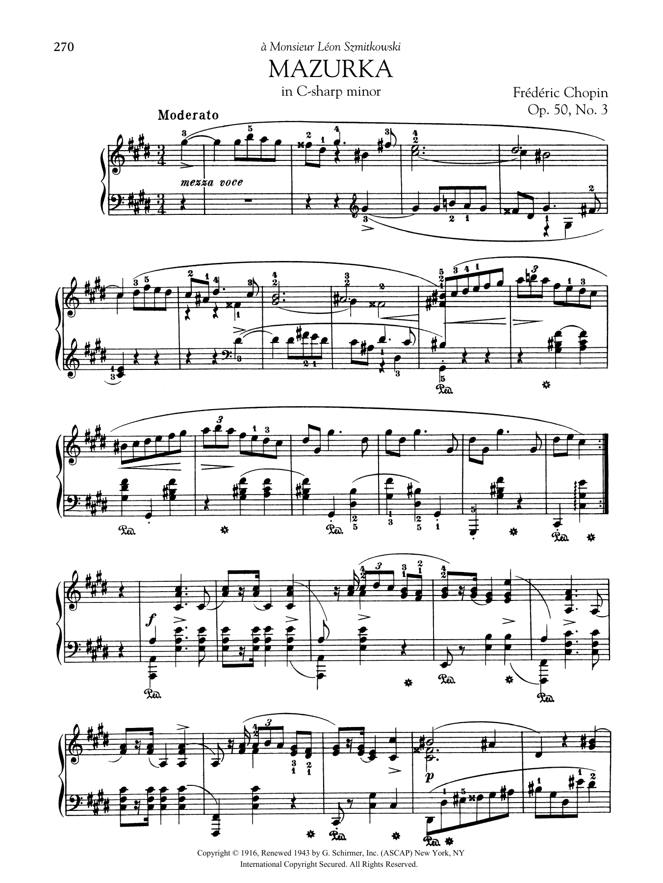 Mazurka in C-sharp minor, Op. 50, No. 3 Sheet Music