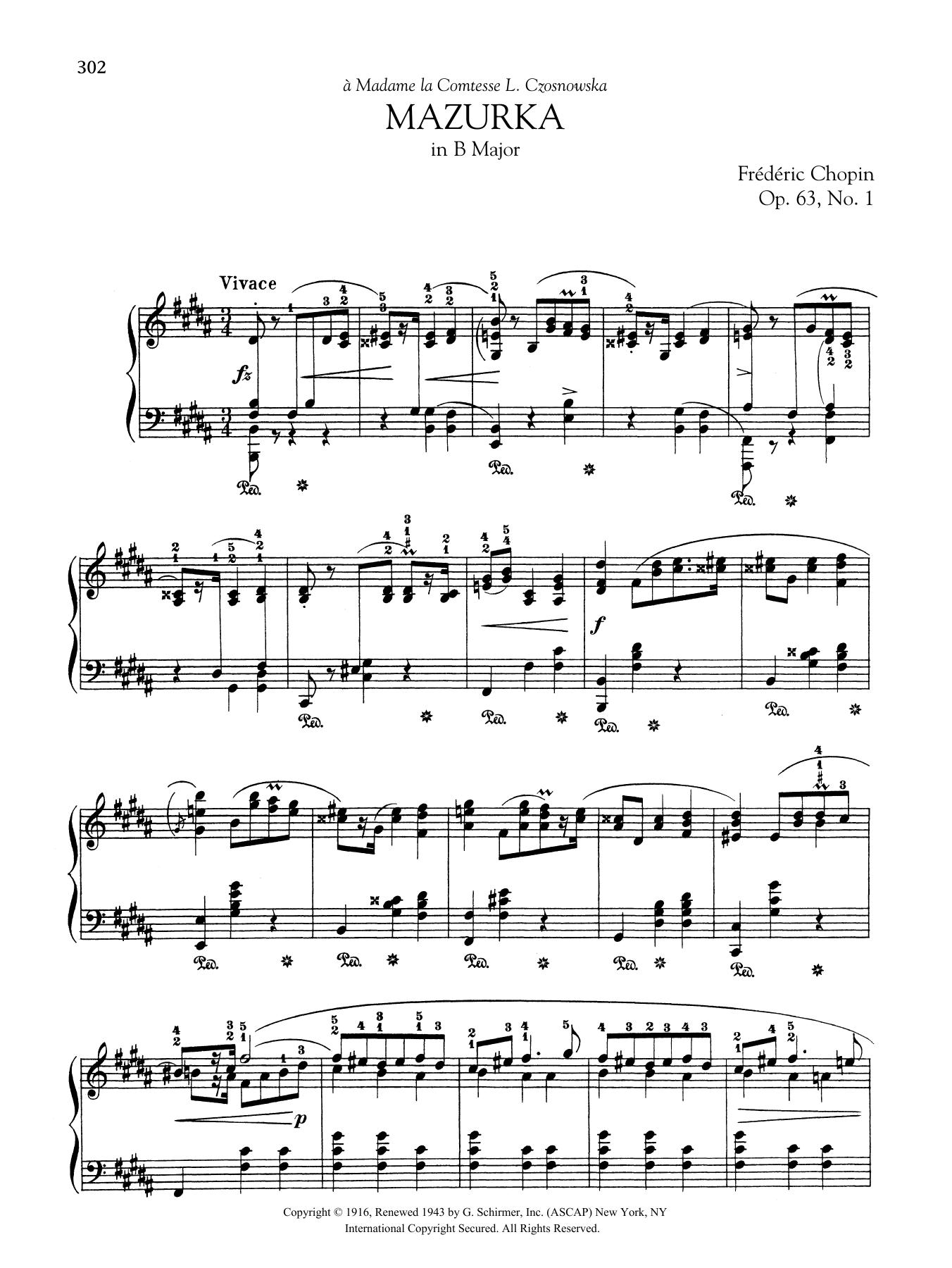 Mazurka in B Major, Op. 63, No. 1 Sheet Music