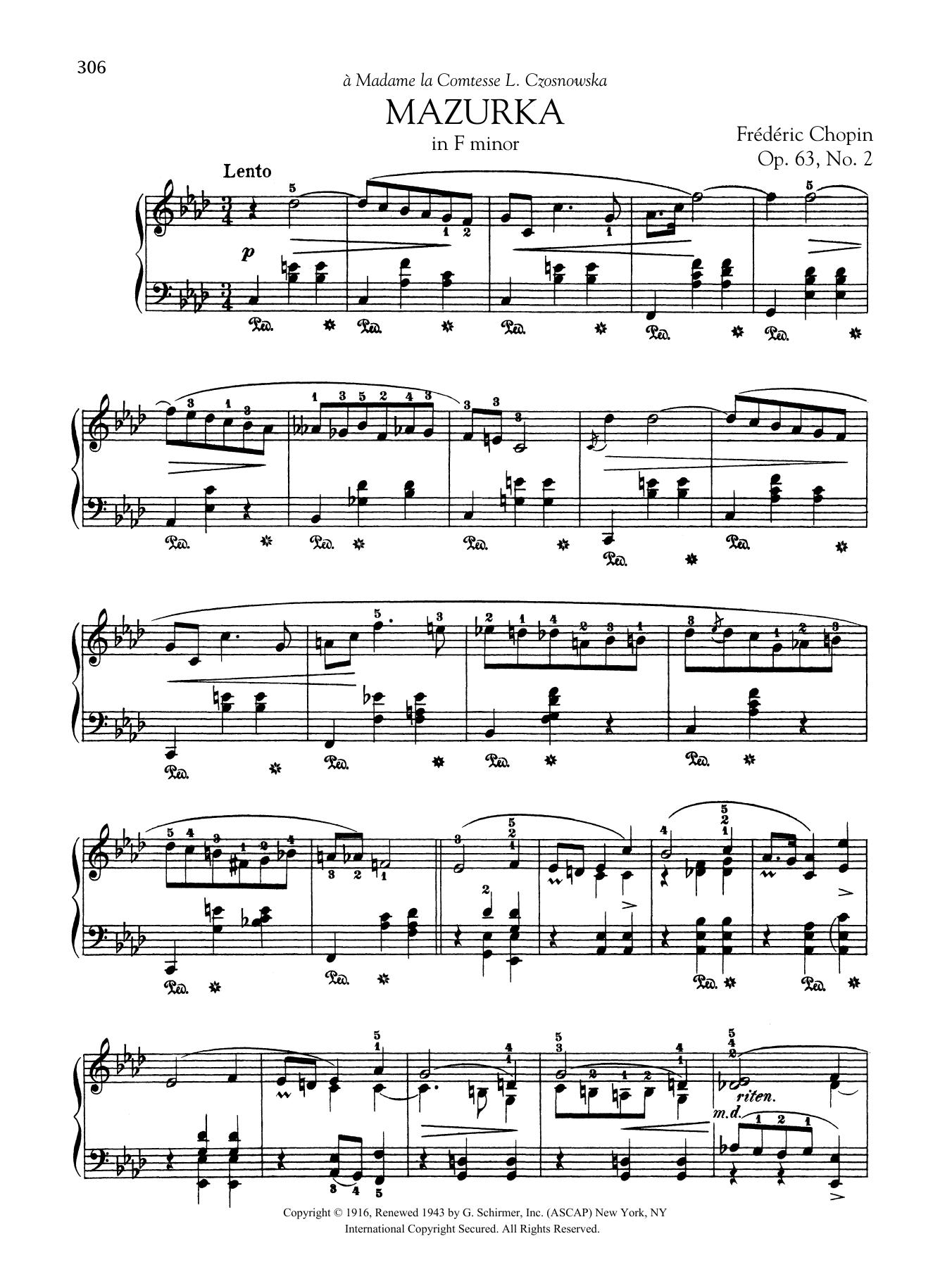 Mazurka in F minor, Op. 63, No. 2 Sheet Music