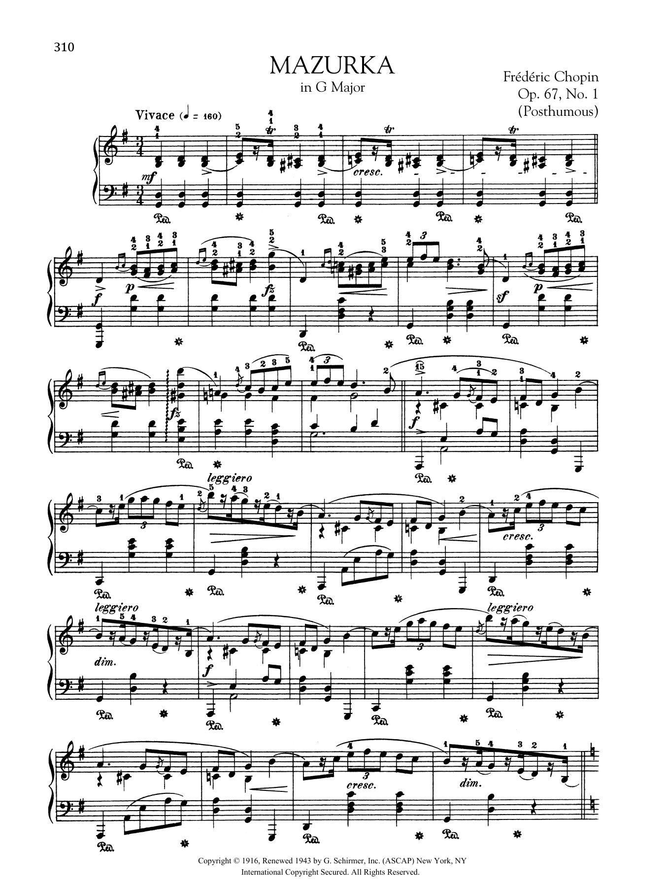 Mazurka in G Major, Op. 67, No. 1 (Posthumous) Sheet Music