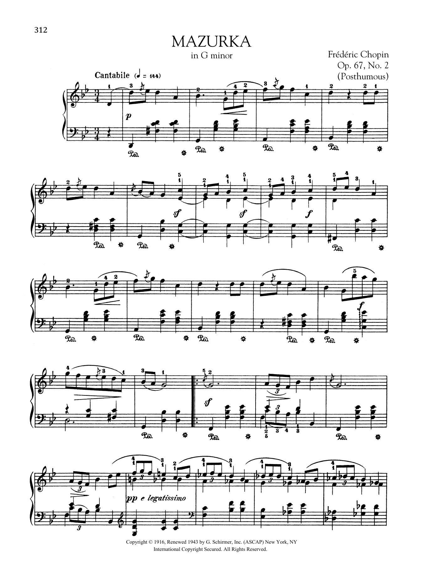 Mazurka in G minor, Op. 67, No. 2 (Posthumous) Sheet Music