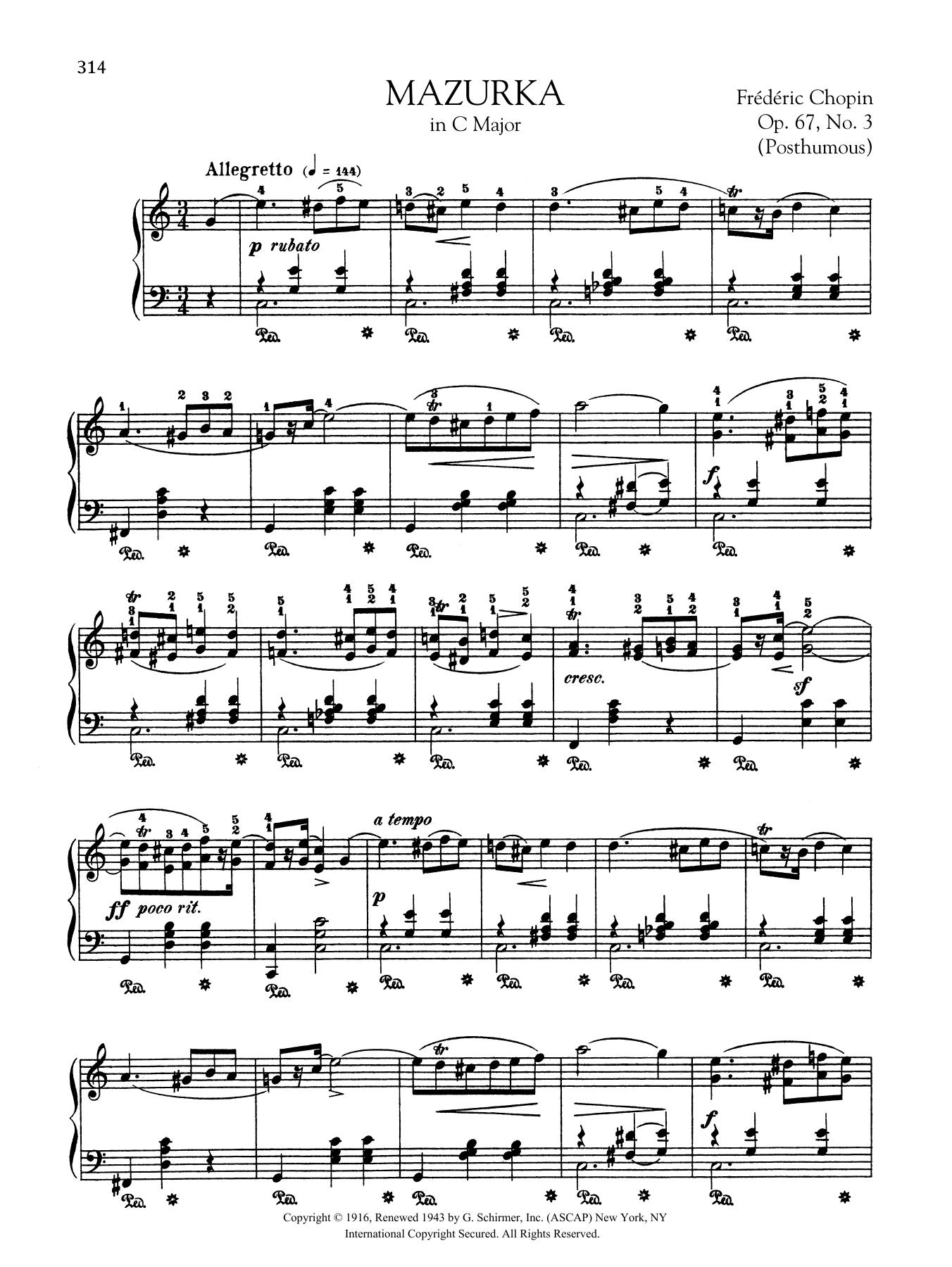 Mazurka in C Major, Op. 67, No. 3 (Posthumous) Sheet Music