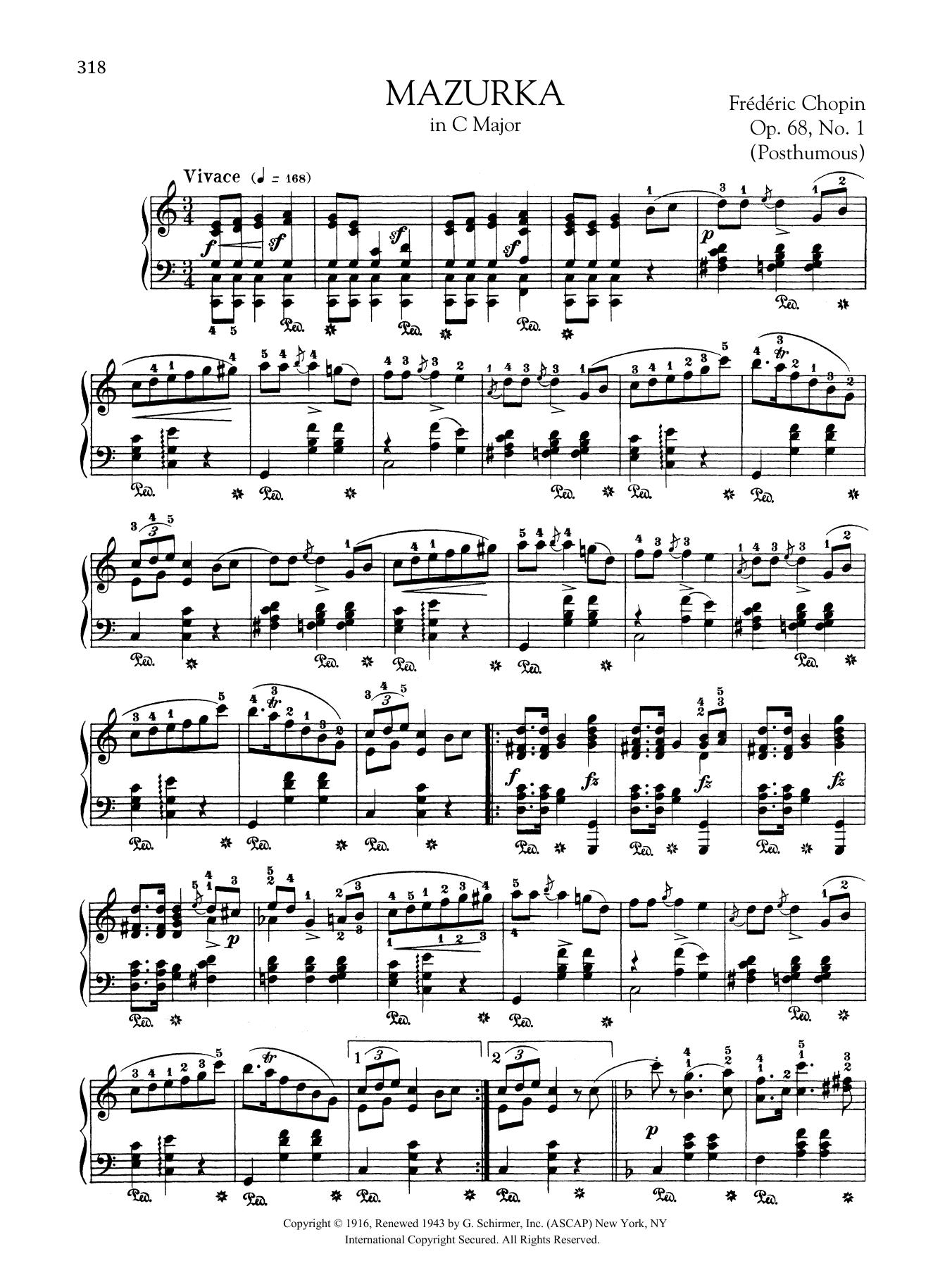 Mazurka in C Major, Op. 68, No. 1 (Posthumous) Sheet Music