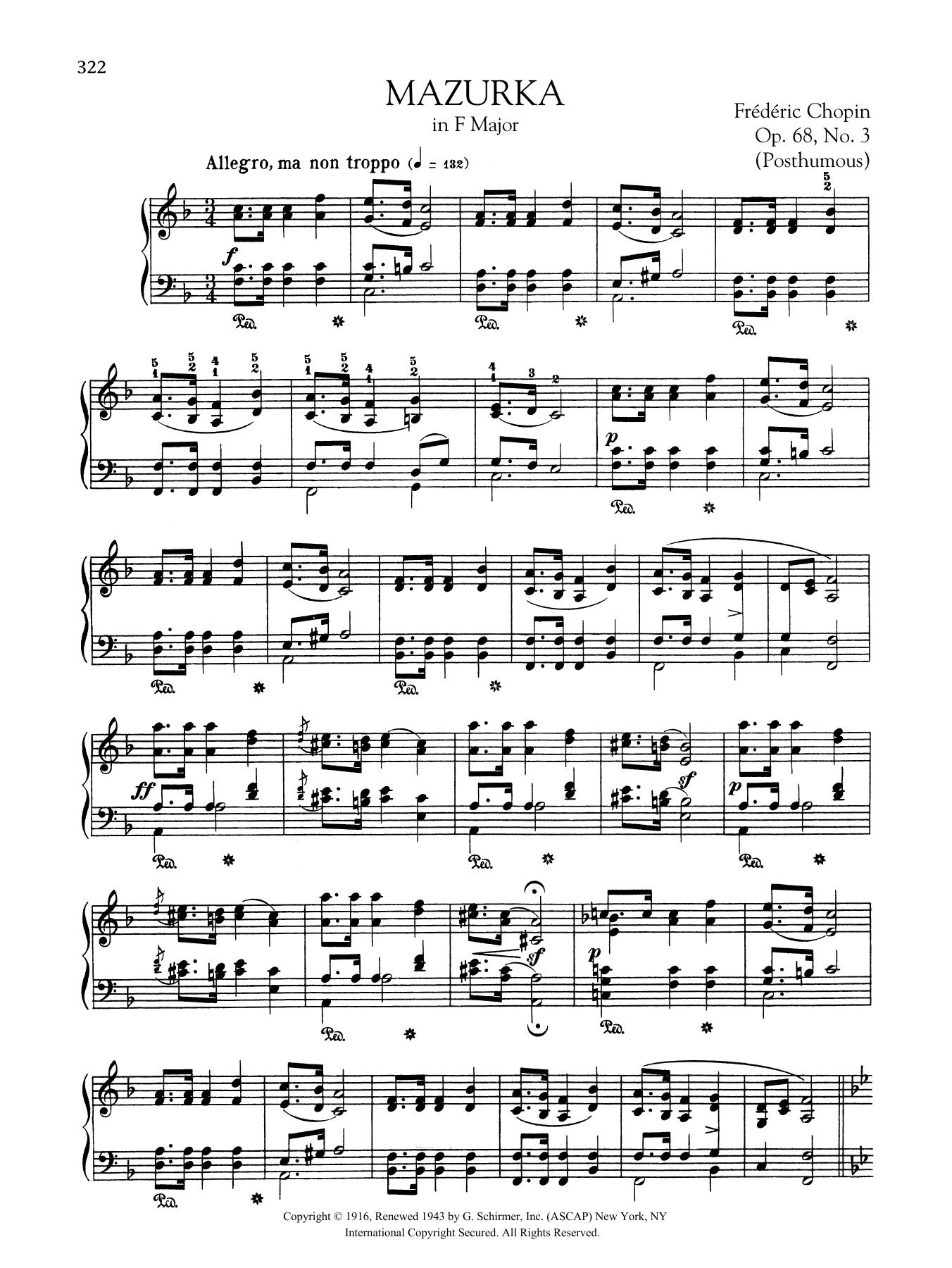 Mazurka in F Major, Op. 68, No. 3 (Posthumous) Sheet Music