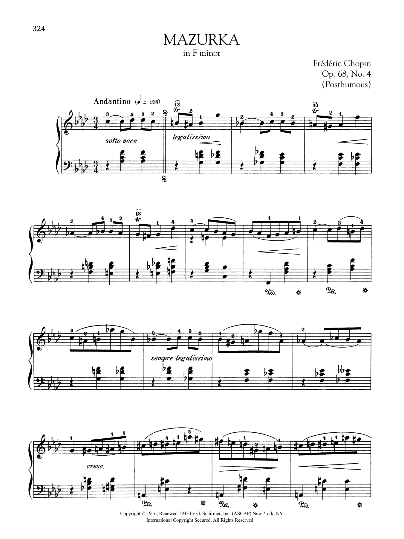 Mazurka in F minor, Op.68, No. 4 (Posthumous) Sheet Music