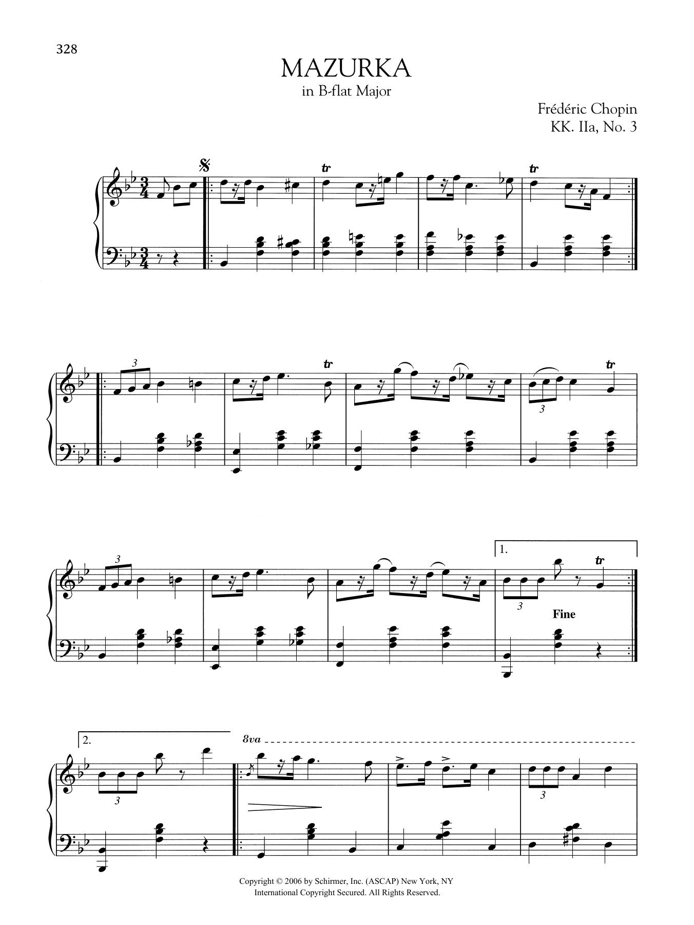 Mazurka in B-flat Major, KK. IIa, No. 3 Sheet Music