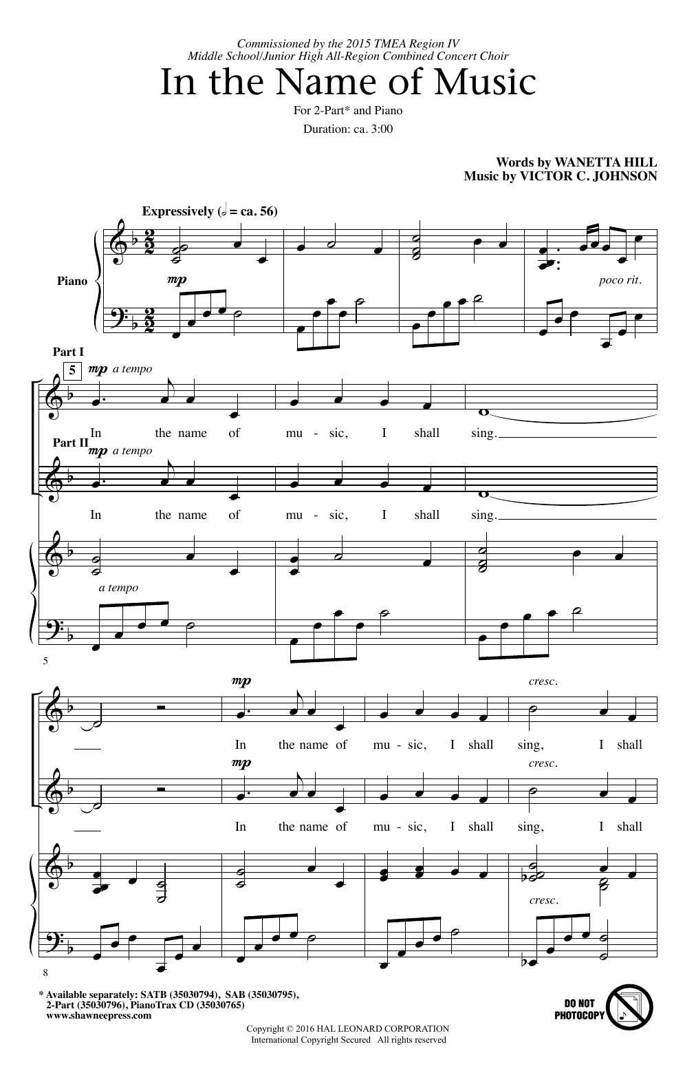 In The Name Of Music Sheet Music