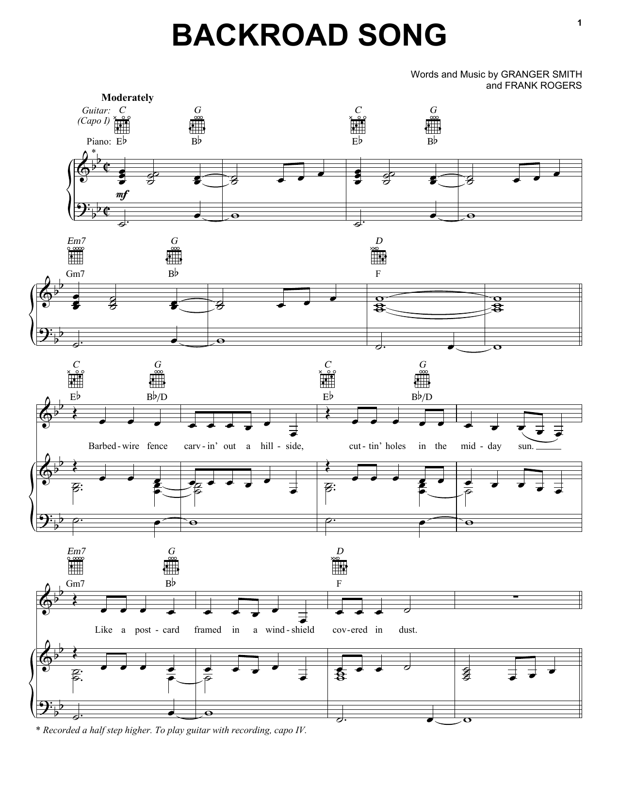 Backroad Song (Piano, Vocal & Guitar (Right-Hand Melody))
