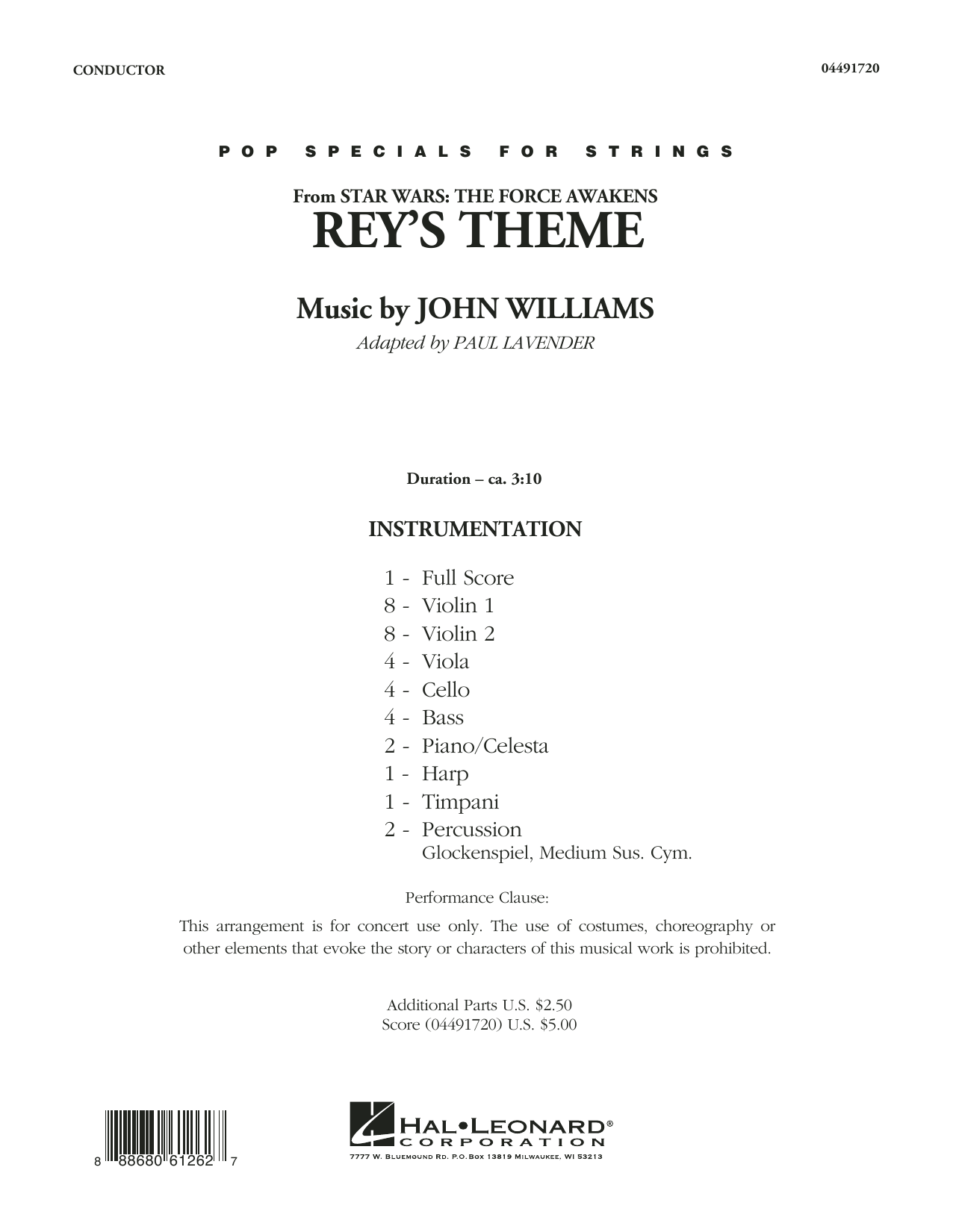 Rey's Theme (COMPLETE) sheet music for orchestra by Paul Lavender and John Williams. Score Image Preview.