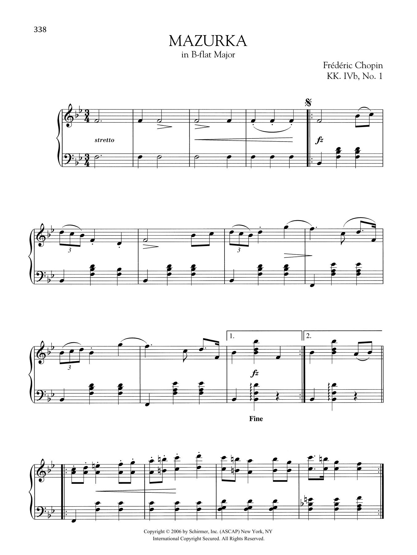 Mazurka in B-flat Major, KK. IVb, No. 1 Sheet Music