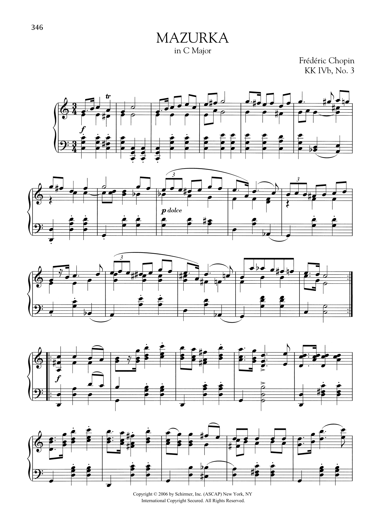Mazurka in C Major, KK. IVb, No. 3 Sheet Music
