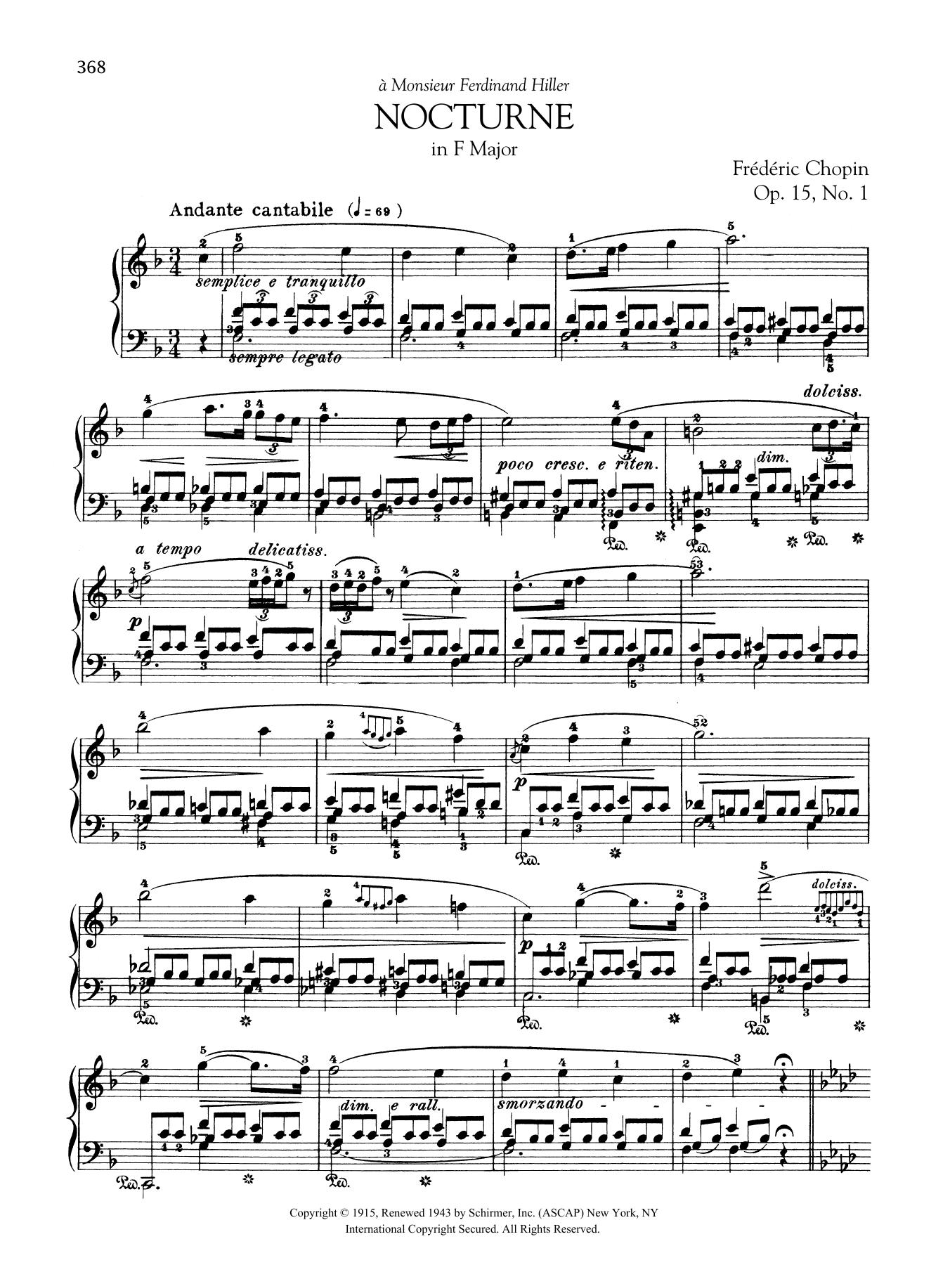 Nocturne in F Major, Op. 15, No. 1 Sheet Music