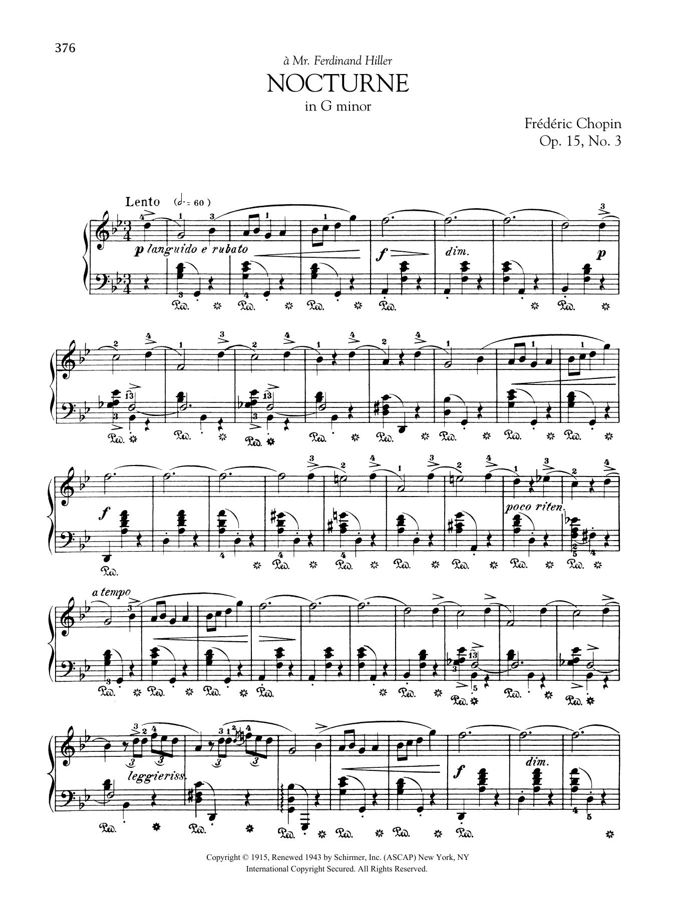 Nocturne in G minor, Op. 15, No. 3 Sheet Music