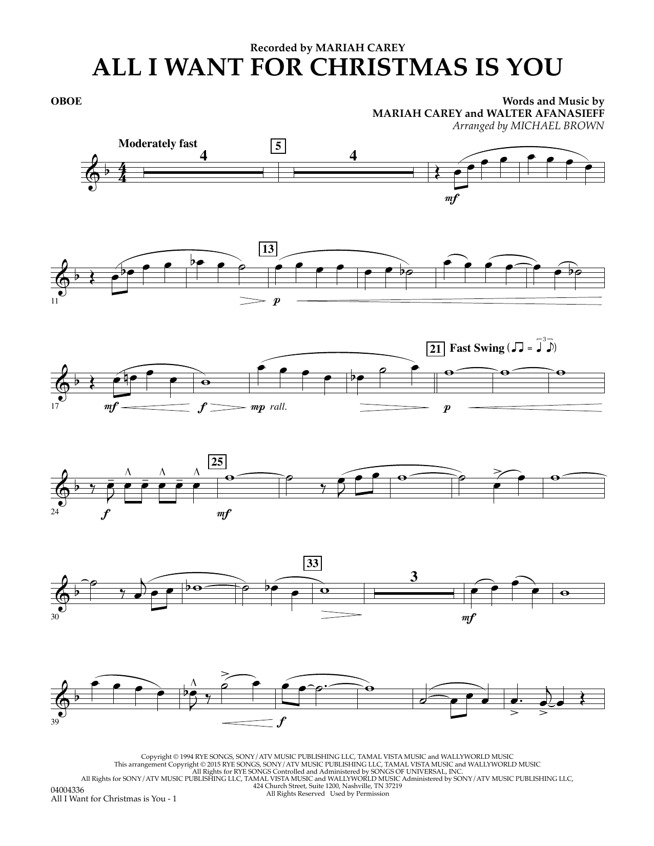 All I Want for Christmas Is You (arr. Michael Brown) - Oboe (Concert Band)