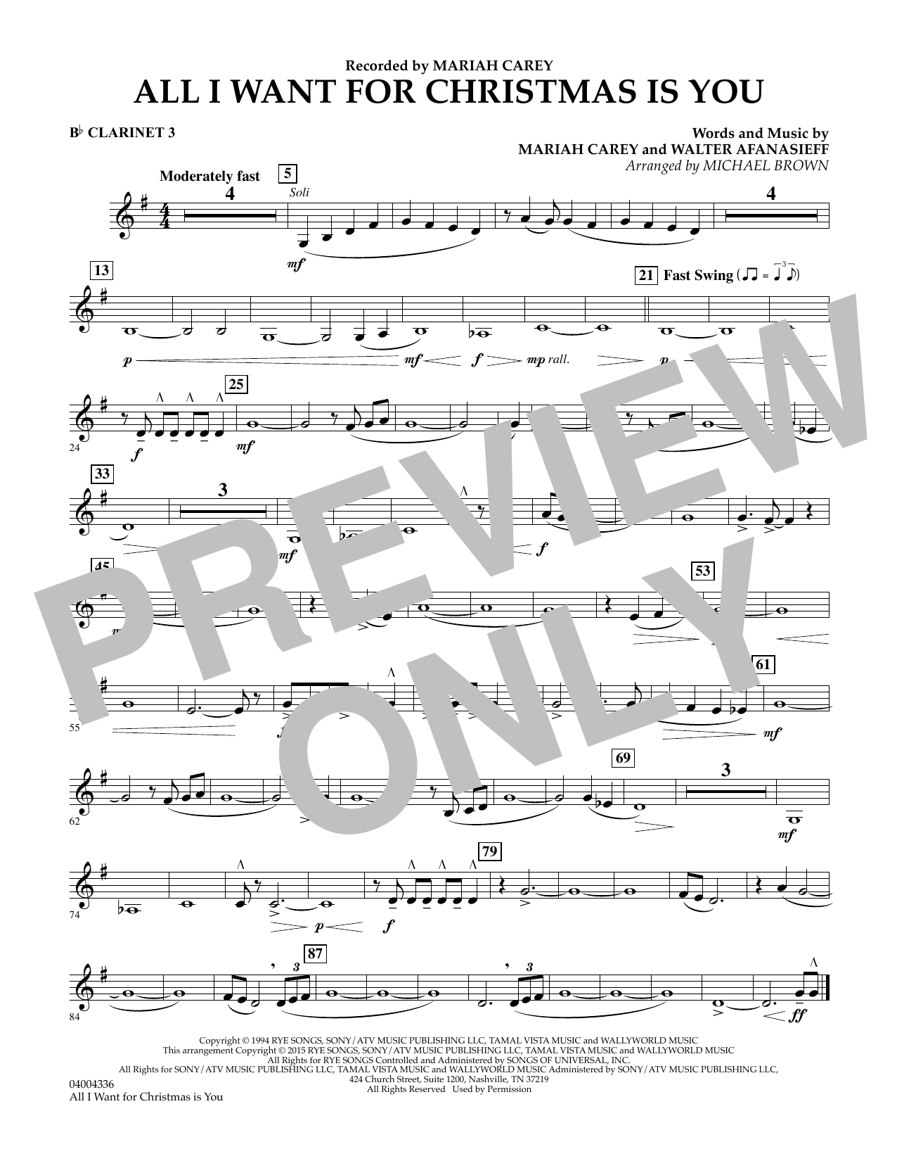 All I Want for Christmas Is You (arr. Michael Brown) - Bb Clarinet 3 (Concert Band)