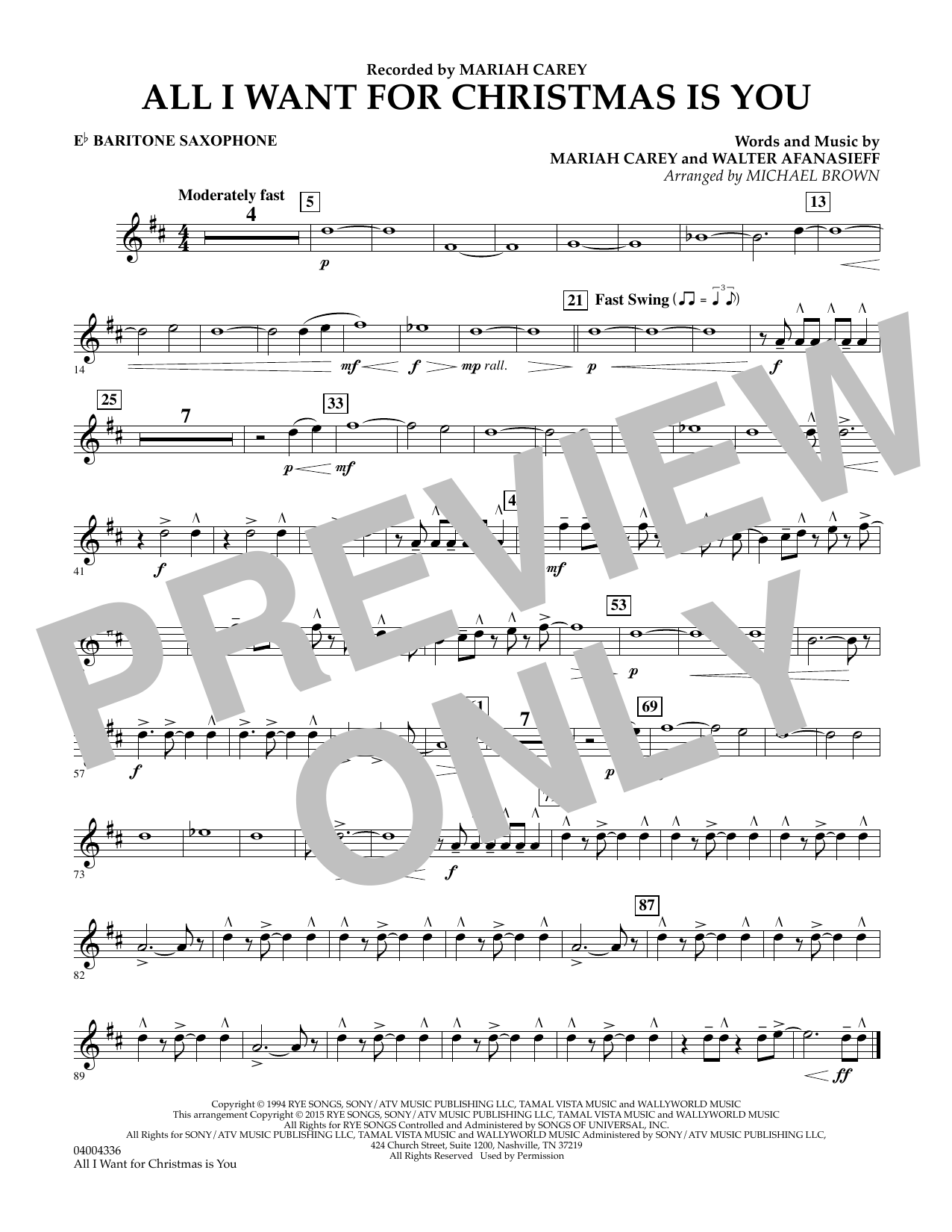 All I Want for Christmas Is You (arr. Michael Brown) - Eb Baritone Saxophone (Concert Band)