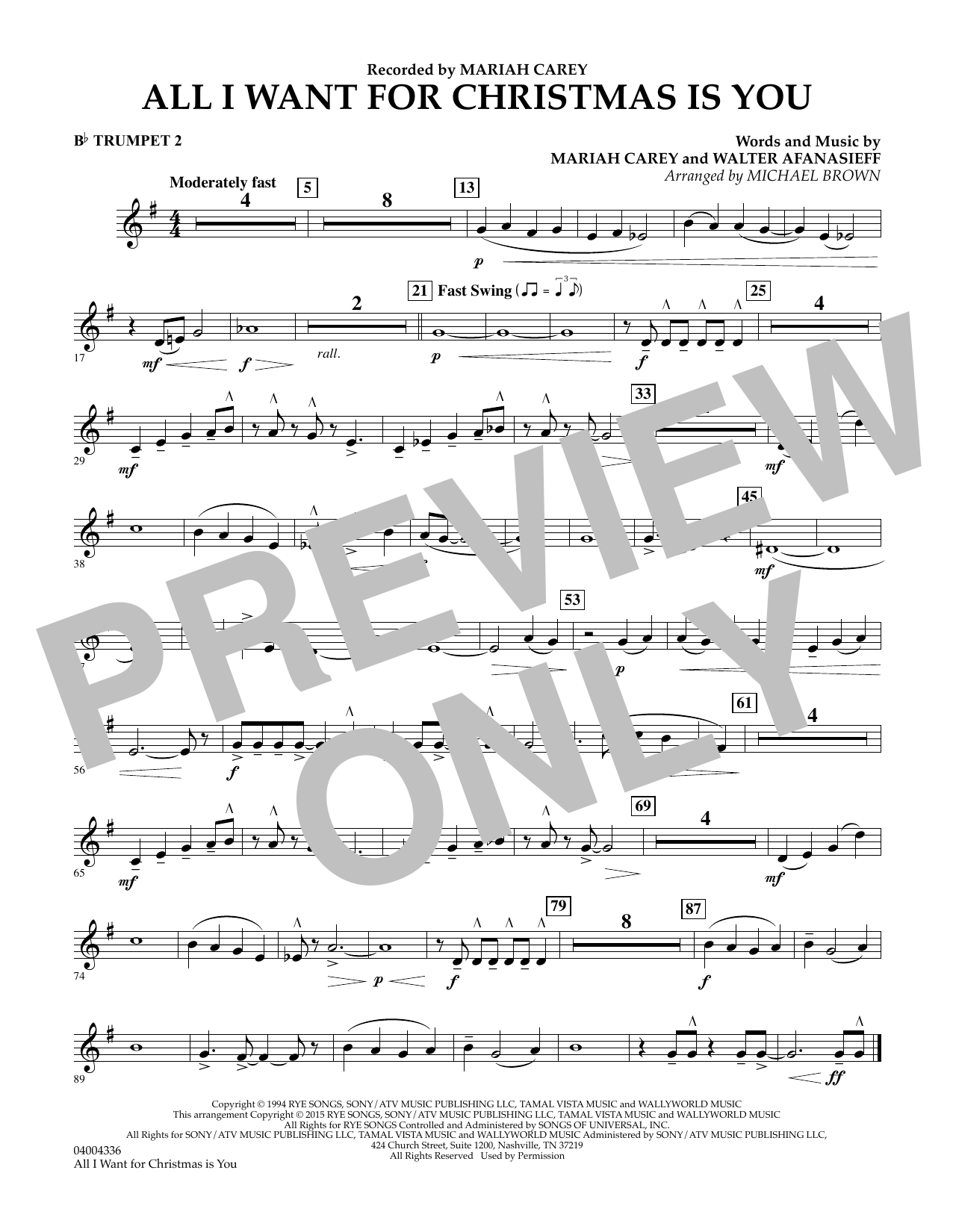 All I Want for Christmas Is You (arr. Michael Brown) - Bb Trumpet 2 (Concert Band)