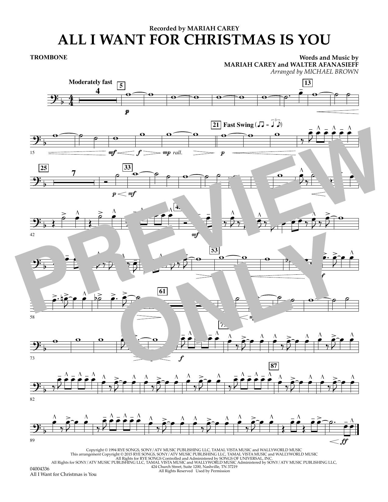 All I Want for Christmas Is You (arr. Michael Brown) - Trombone (Concert Band)