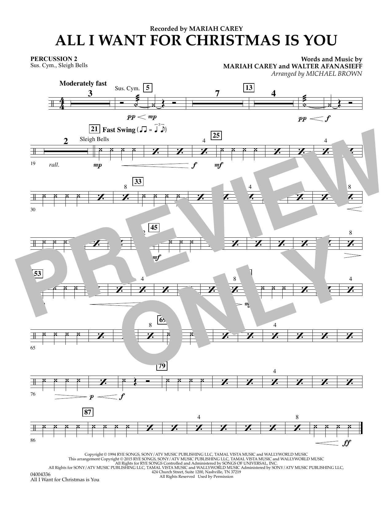 All I Want for Christmas Is You (arr. Michael Brown) - Percussion 2 (Concert Band)
