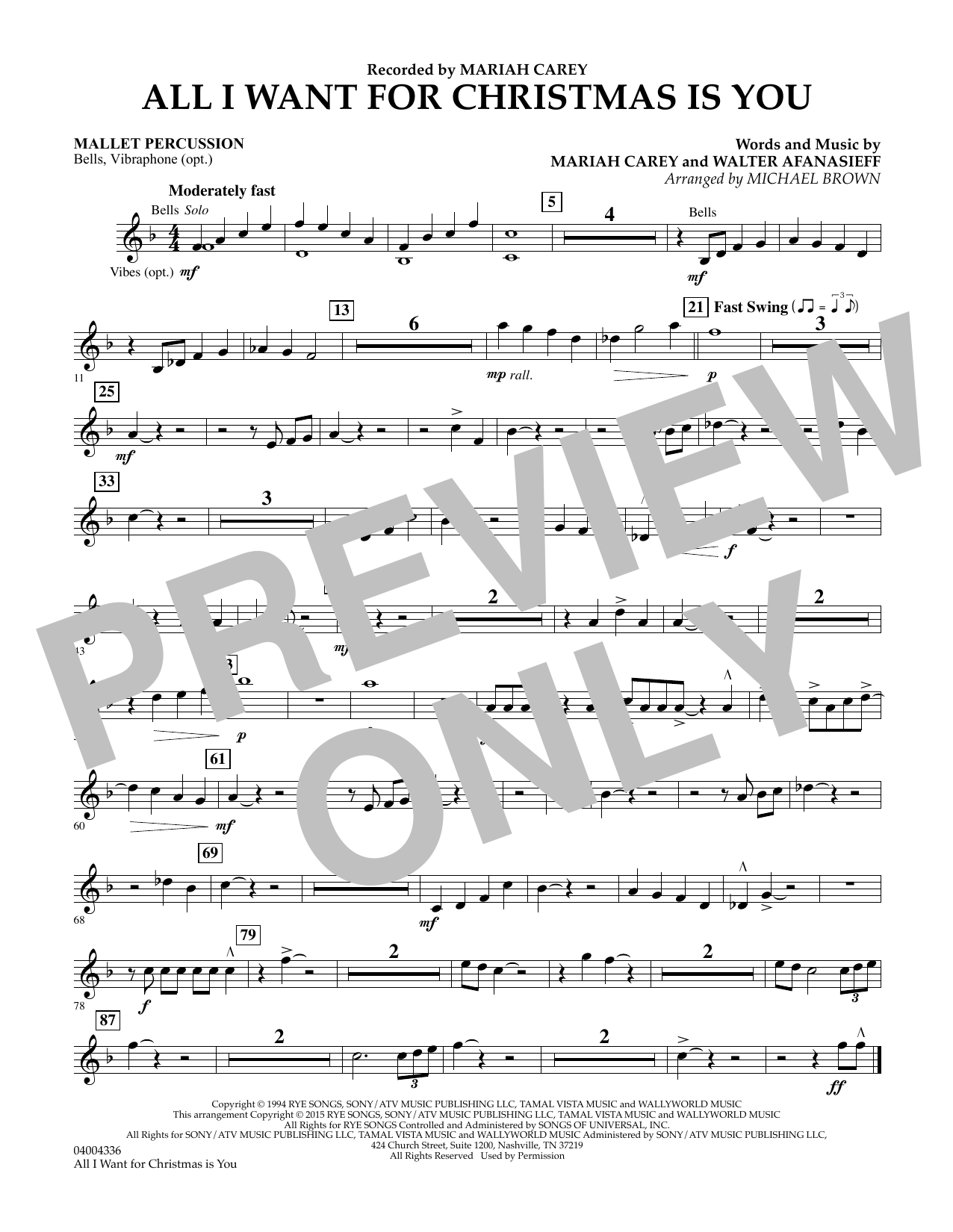 All I Want for Christmas Is You (arr. Michael Brown) - Mallet Percussion (Concert Band)