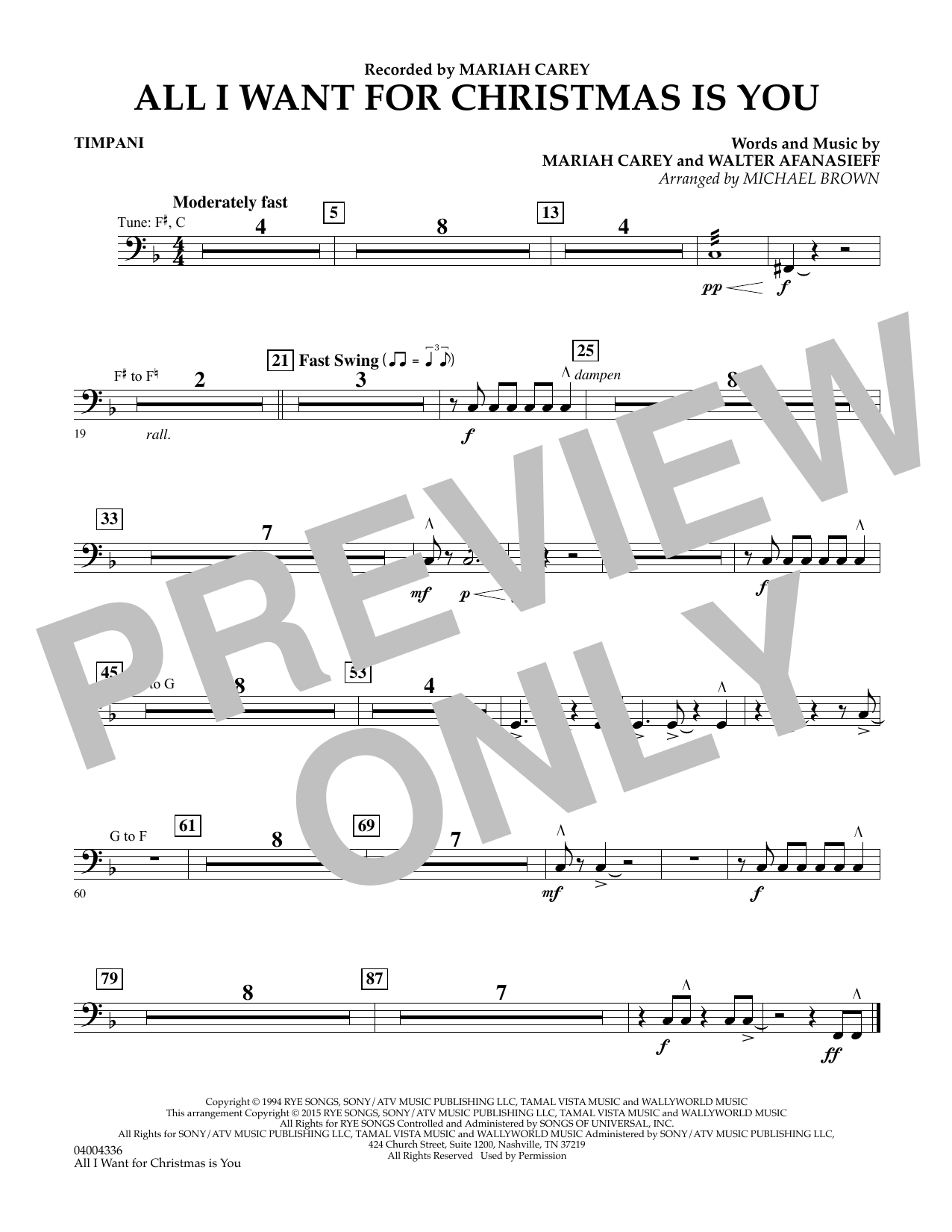 All I Want for Christmas Is You (arr. Michael Brown) - Timpani (Concert Band)