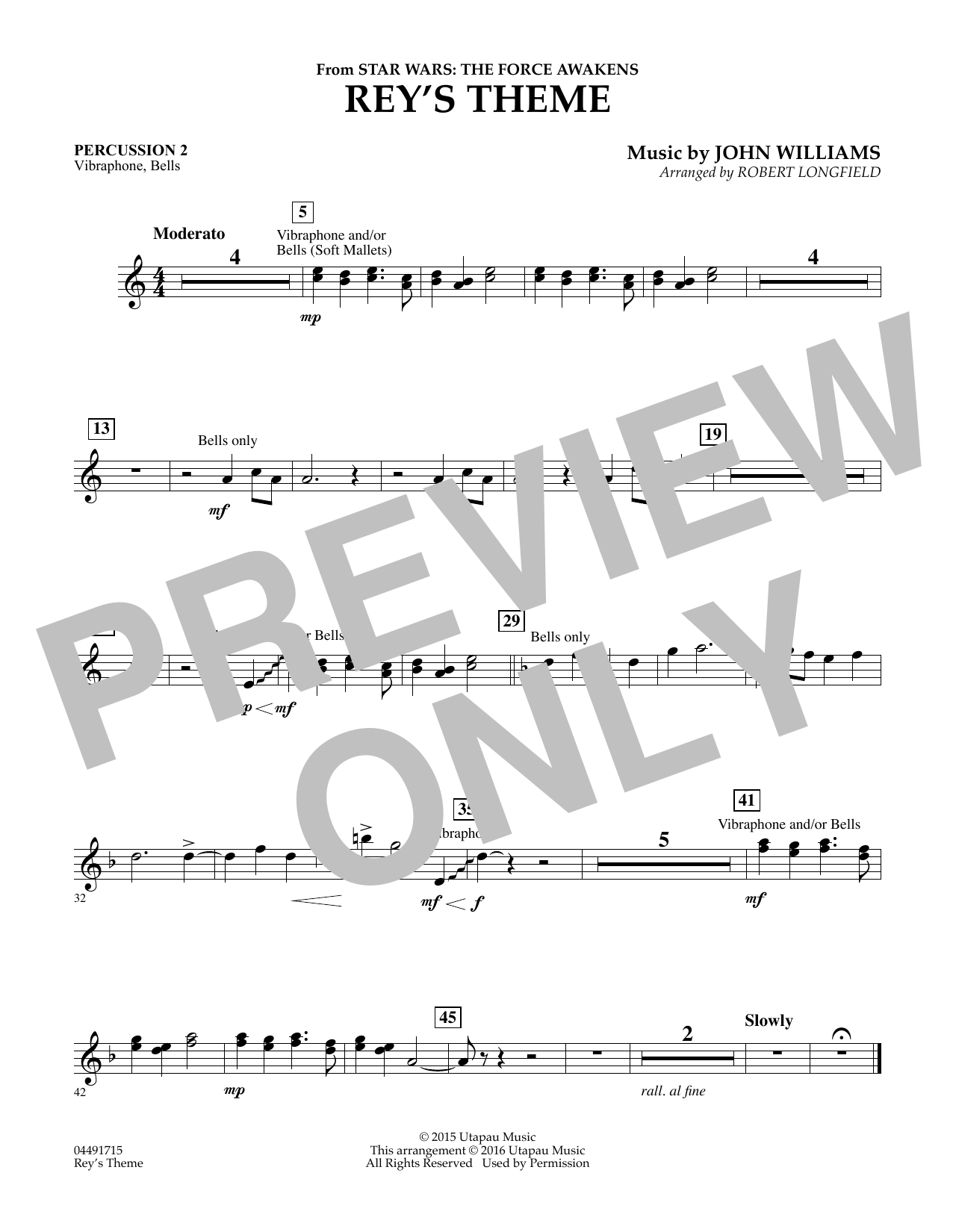 Rey's Theme (from Star Wars: The Force Awakens) - Percussion 2 (Orchestra)