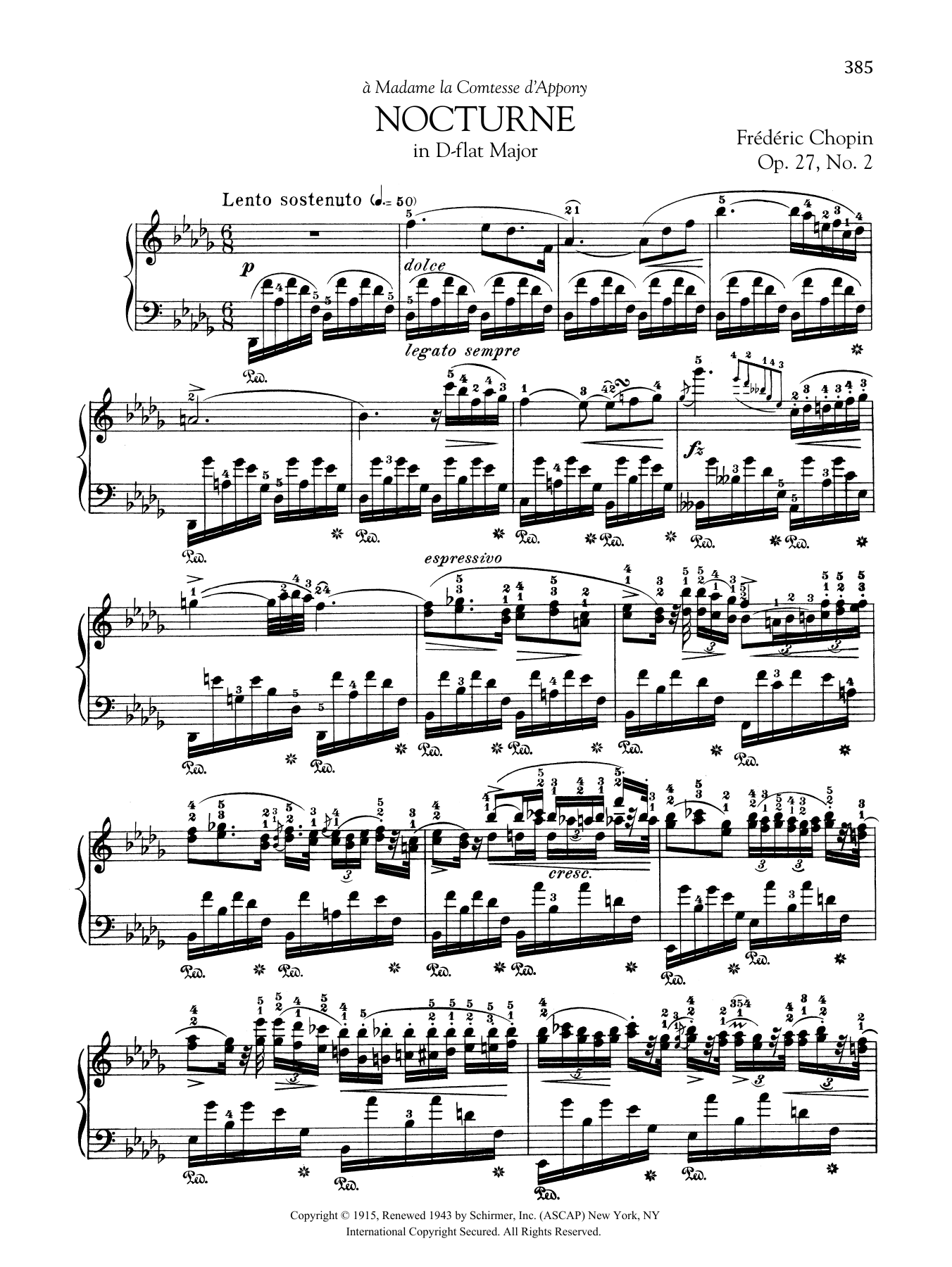 Nocturne in D-flat Major, Op. 27, No. 2 Sheet Music
