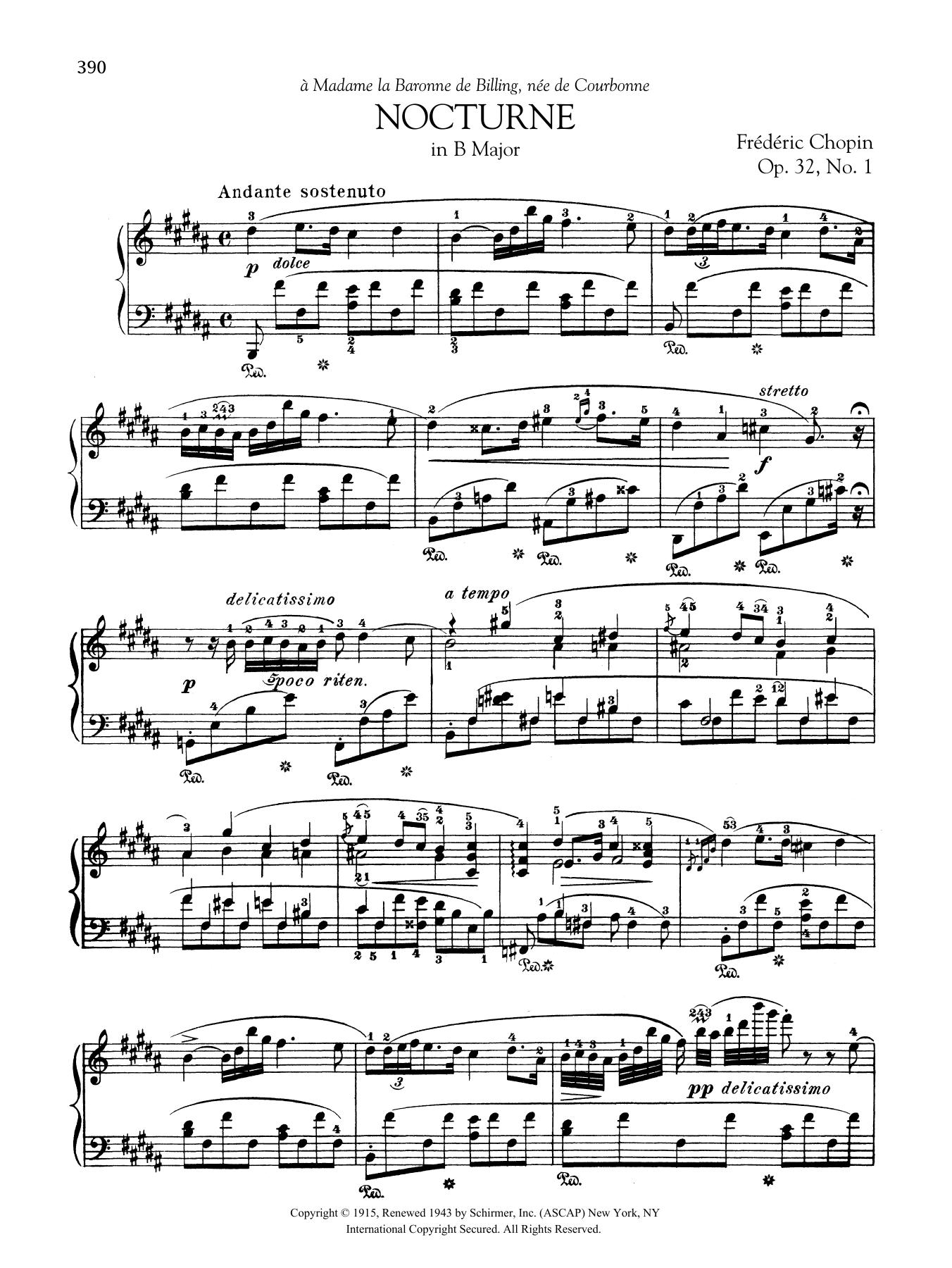 Nocturne in B Major, Op. 32, No. 1 Sheet Music